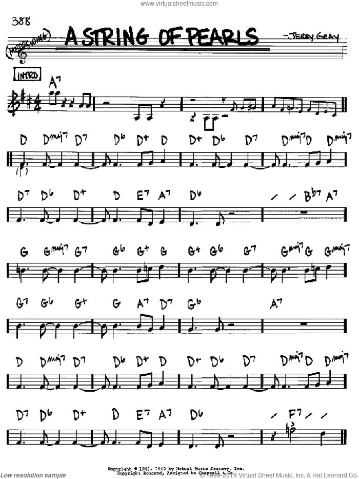 A String Of Pearls sheet music for voice and other instruments (Bb) by Jerry Gray and Eddie DeLange. Score Image Preview.