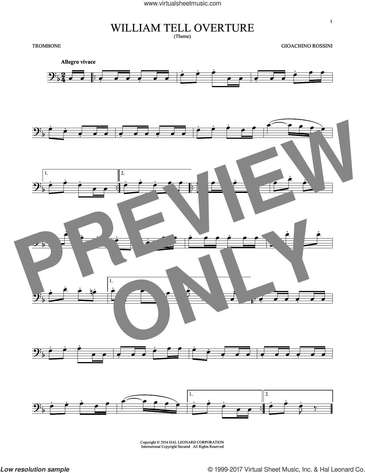 William Tell Overture sheet music for trombone solo by Rossini, Gioacchino, classical score, intermediate skill level