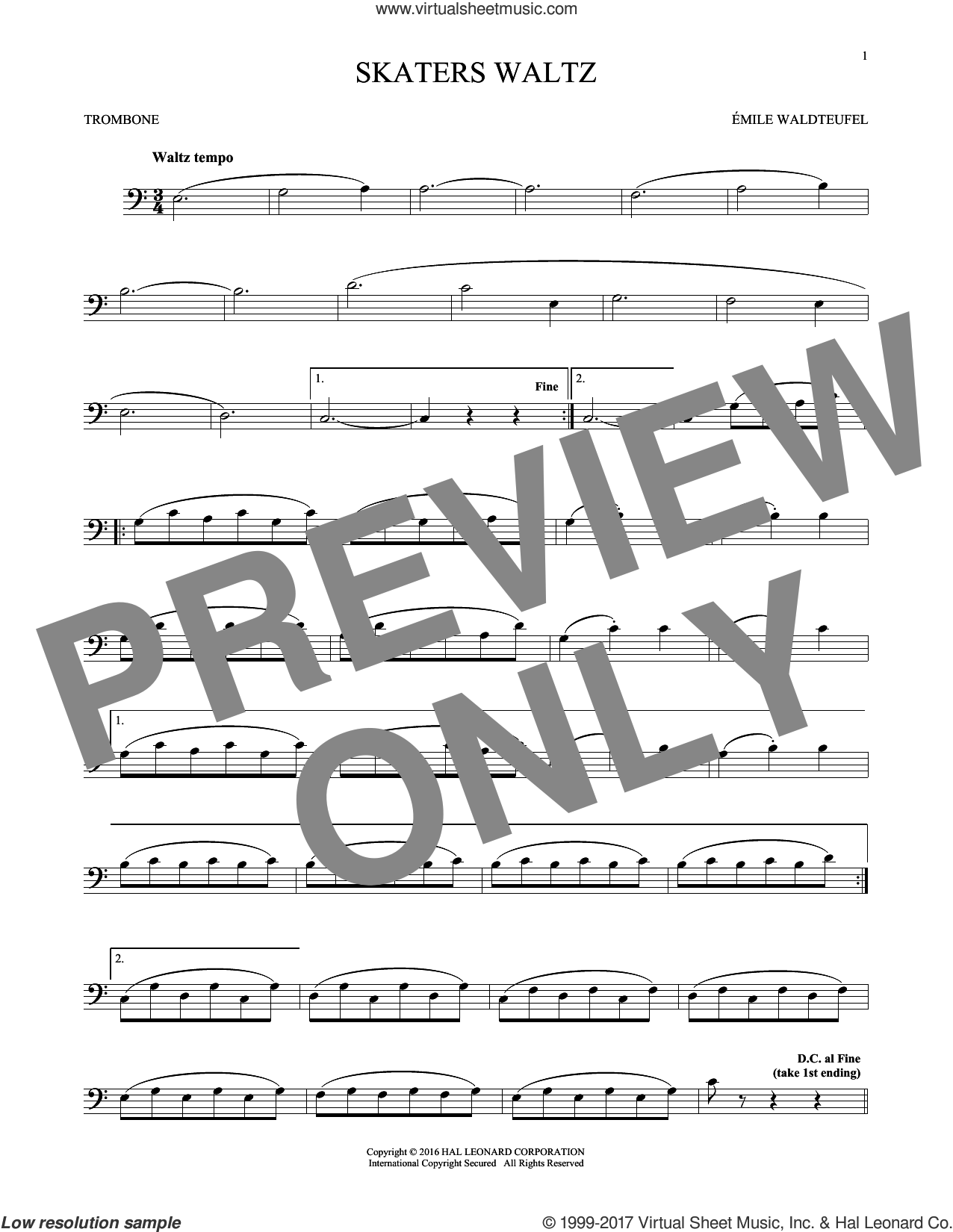 The Skaters (Waltz) sheet music for trombone solo by Emile Waldteufel, classical score, intermediate skill level
