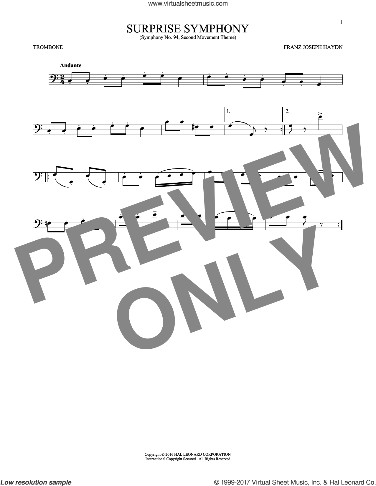 The Surprise Symphony sheet music for trombone solo by Franz Joseph Haydn, classical score, intermediate skill level