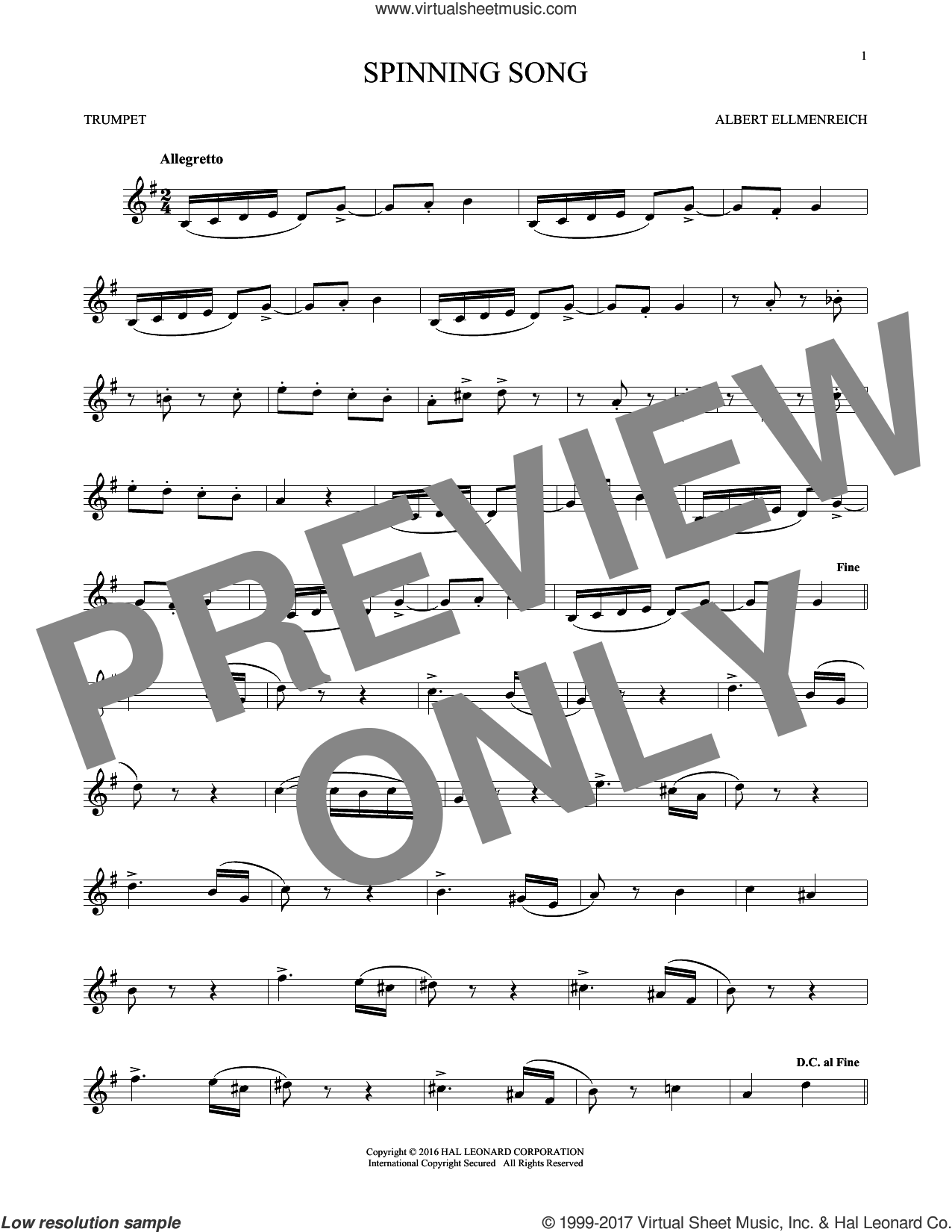 Spinning Song sheet music for trumpet solo by Albert Ellmenreich, classical score, intermediate skill level