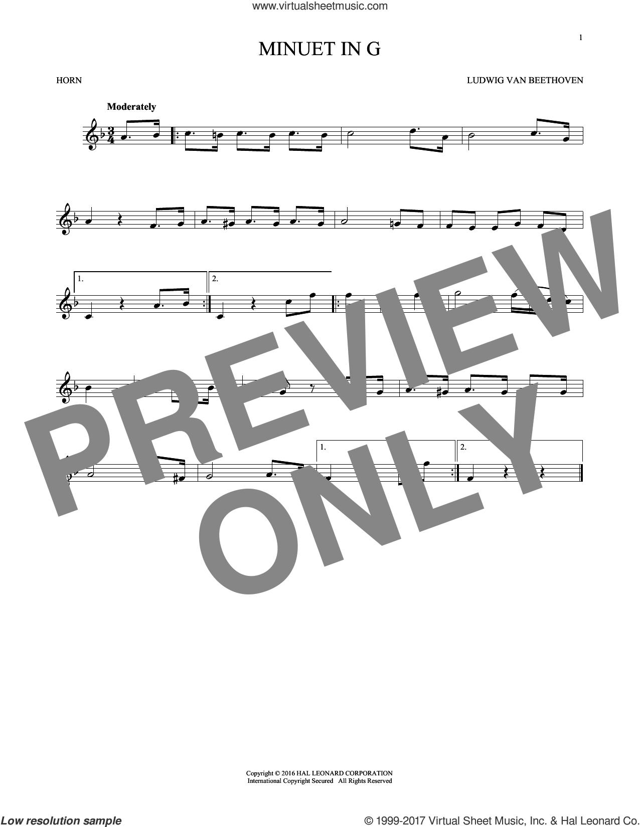 Minuet In G sheet music for horn solo by Johann Sebastian Bach, classical score, intermediate skill level