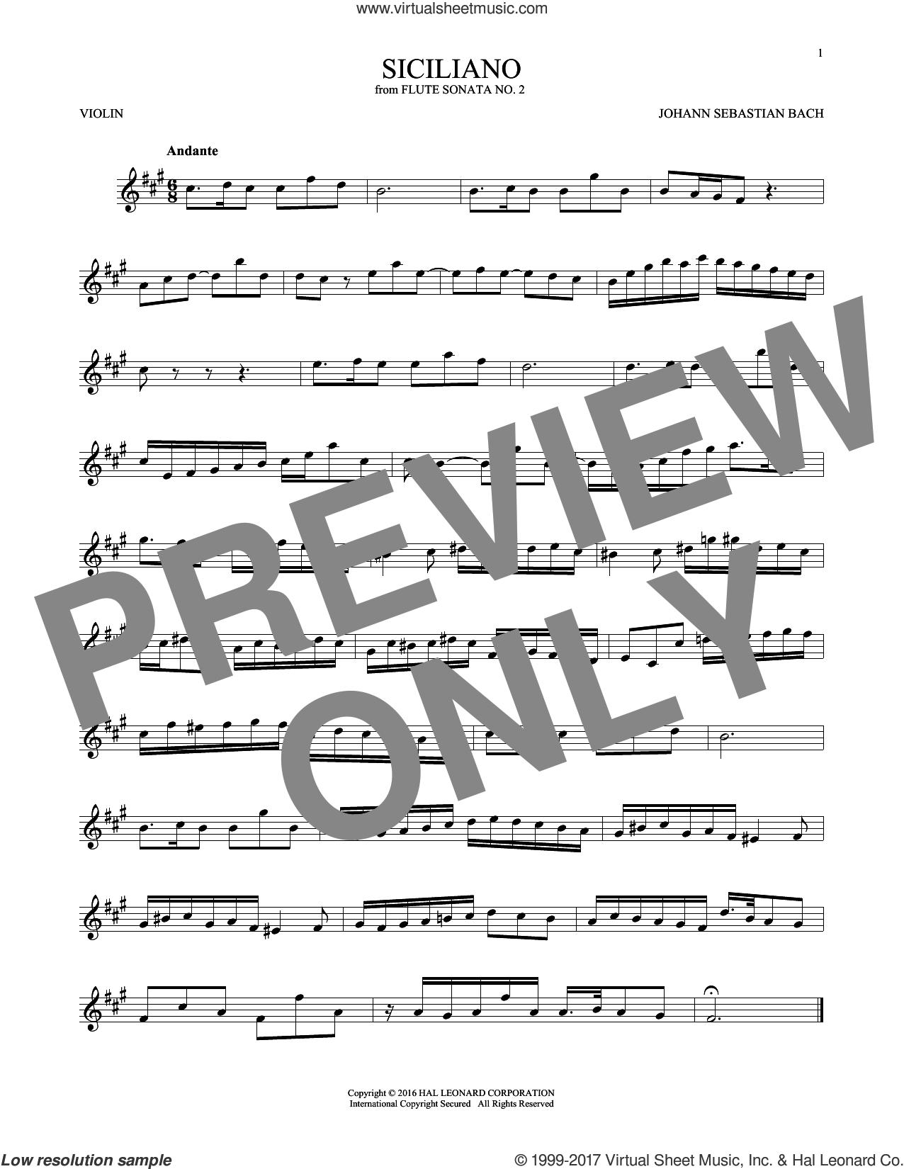 Siciliano sheet music for violin solo by Johann Sebastian Bach, classical score, intermediate skill level