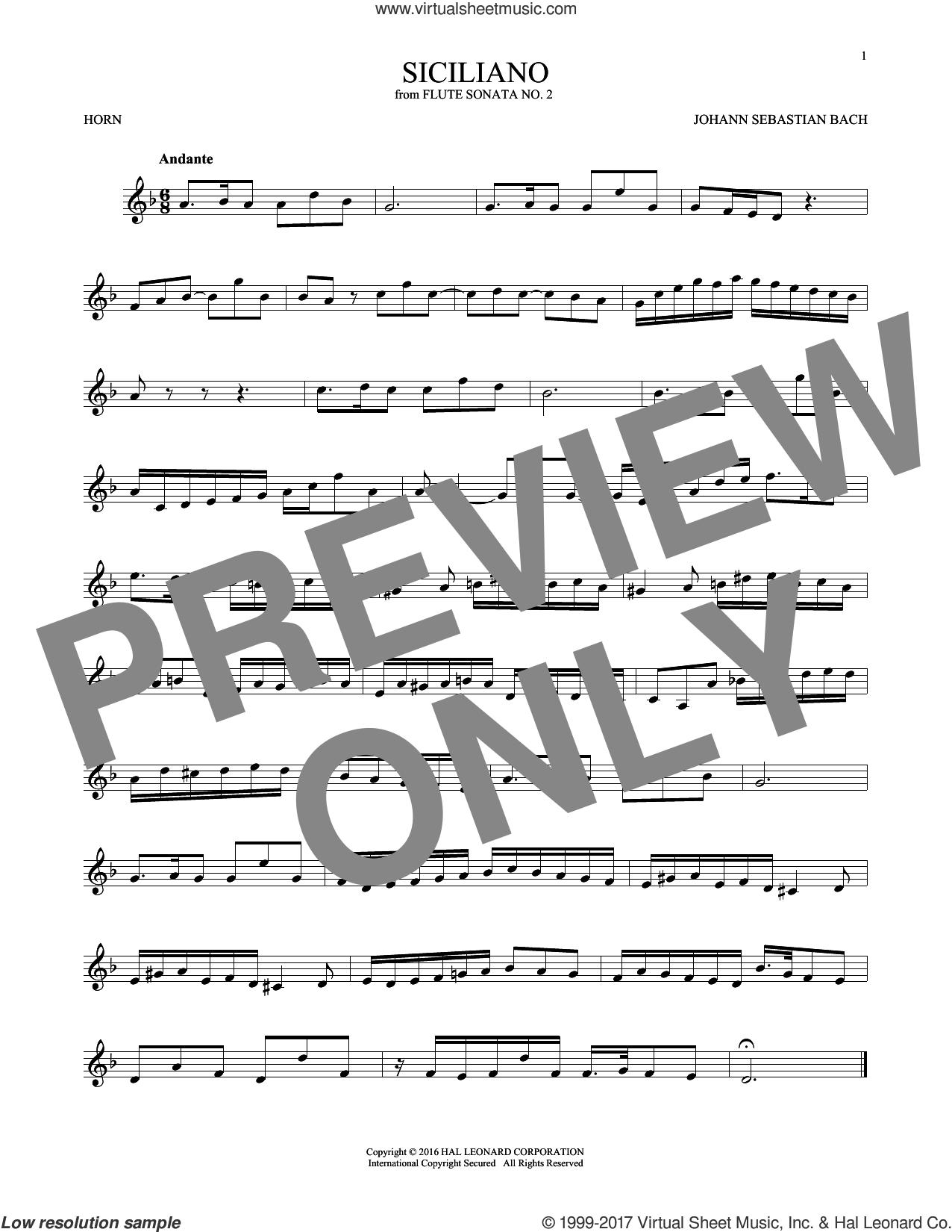 Siciliano sheet music for horn solo by Johann Sebastian Bach, classical score, intermediate skill level