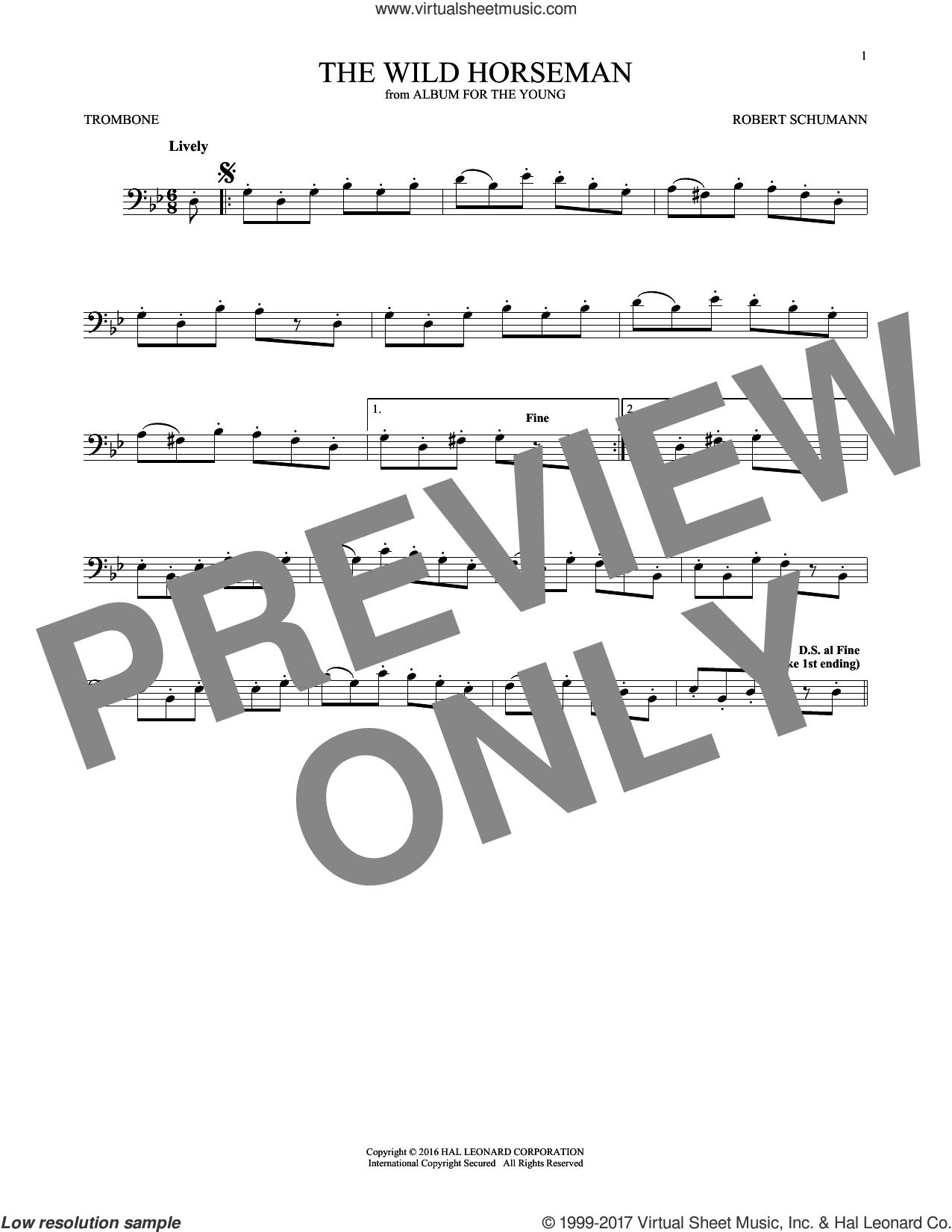 The Wild Horseman (Wilder Reiter), Op. 68, No. 8 sheet music for trombone solo by Robert Schumann, classical score, intermediate skill level