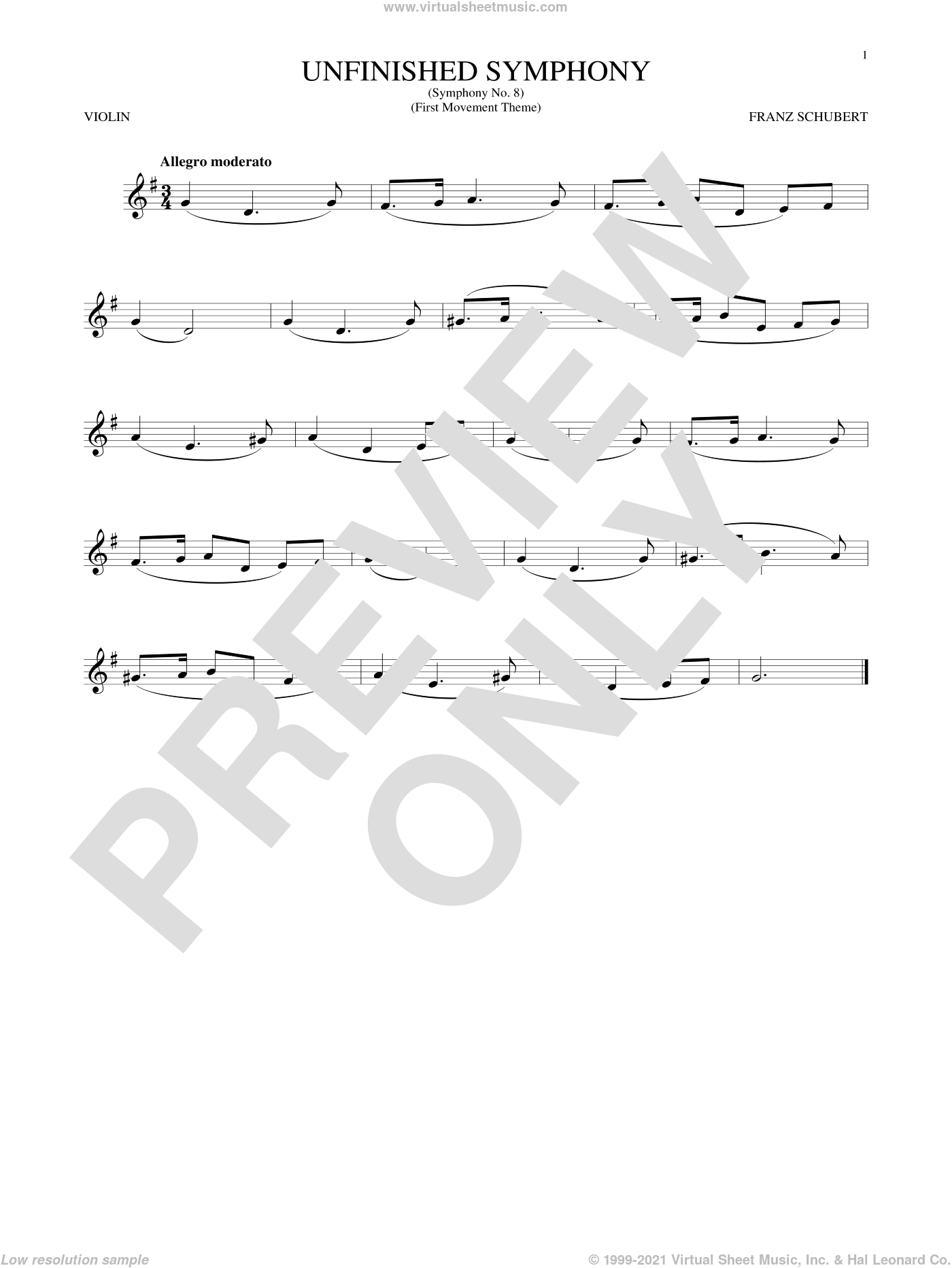 The Unfinished Symphony (Theme) sheet music for violin solo by Franz Schubert, classical score, intermediate skill level