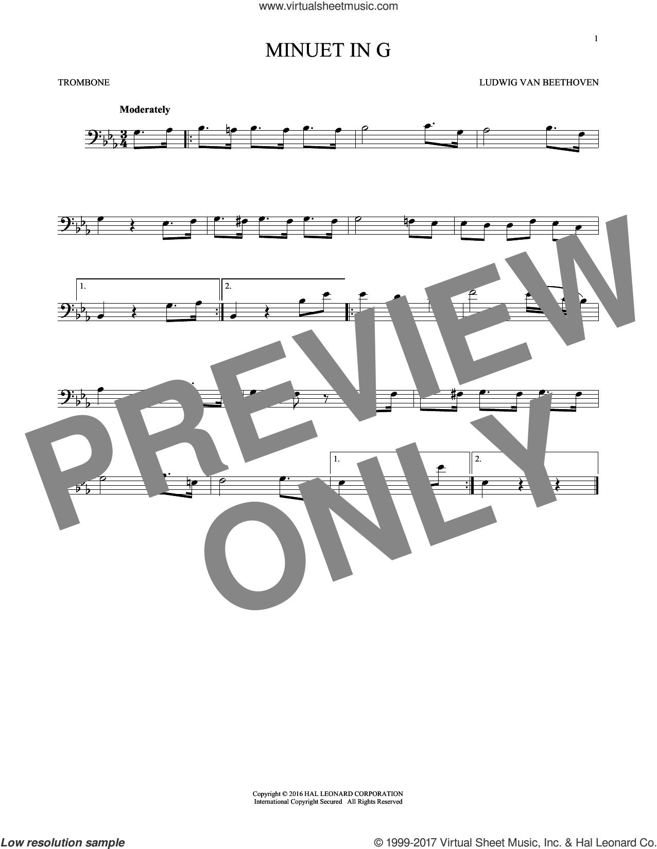 Minuet In G sheet music for trombone solo by Johann Sebastian Bach, classical score, intermediate skill level