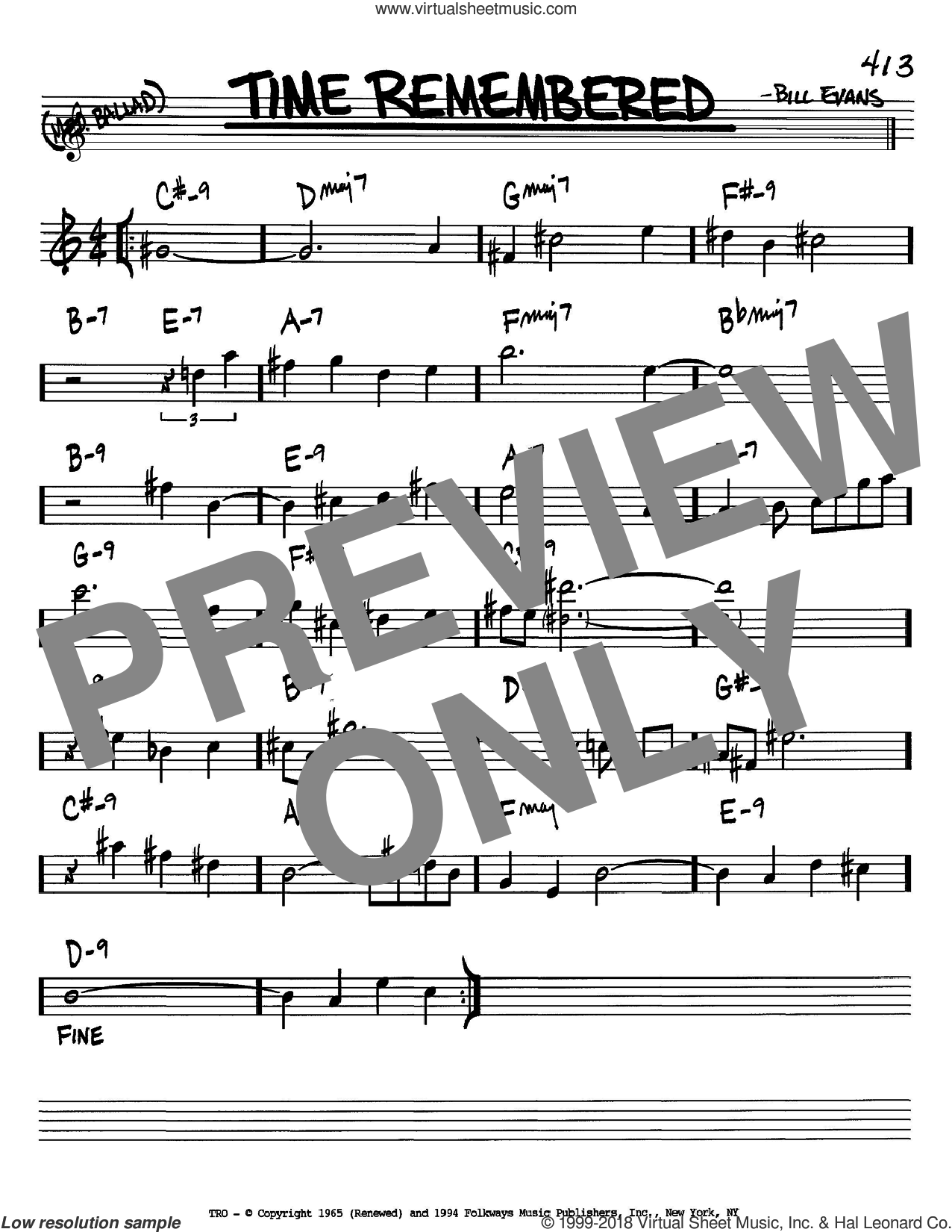 Time Remembered sheet music for voice and other instruments (in Bb) by Bill Evans, intermediate skill level