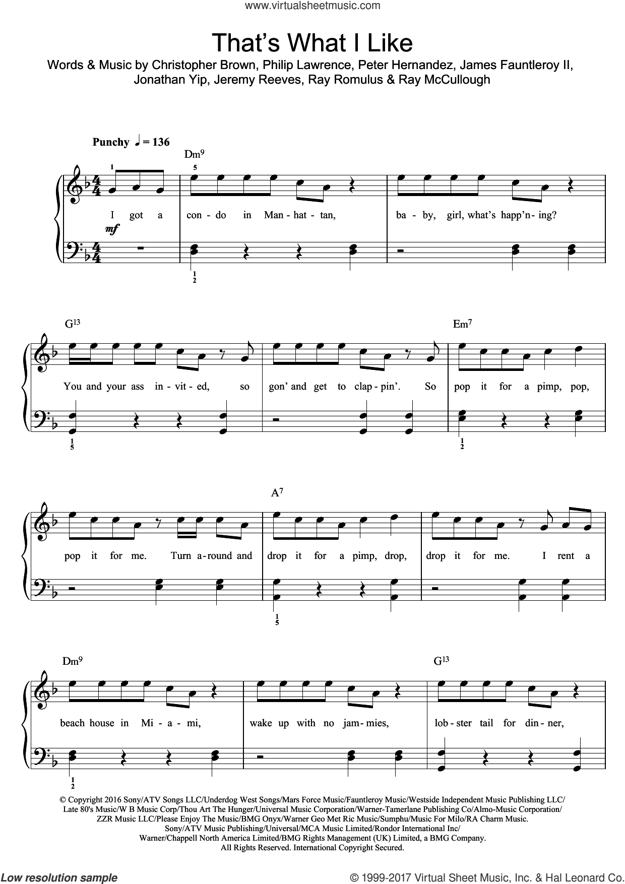 That's What I Like sheet music for piano solo (beginners) by Bruno Mars, Chris Brown, James Fauntleroy, Jeremy Reeves, Jonathan Yip, Peter Hernandez, Philip Lawrence, Ray McCullough and Ray Romulus, beginner piano (beginners)