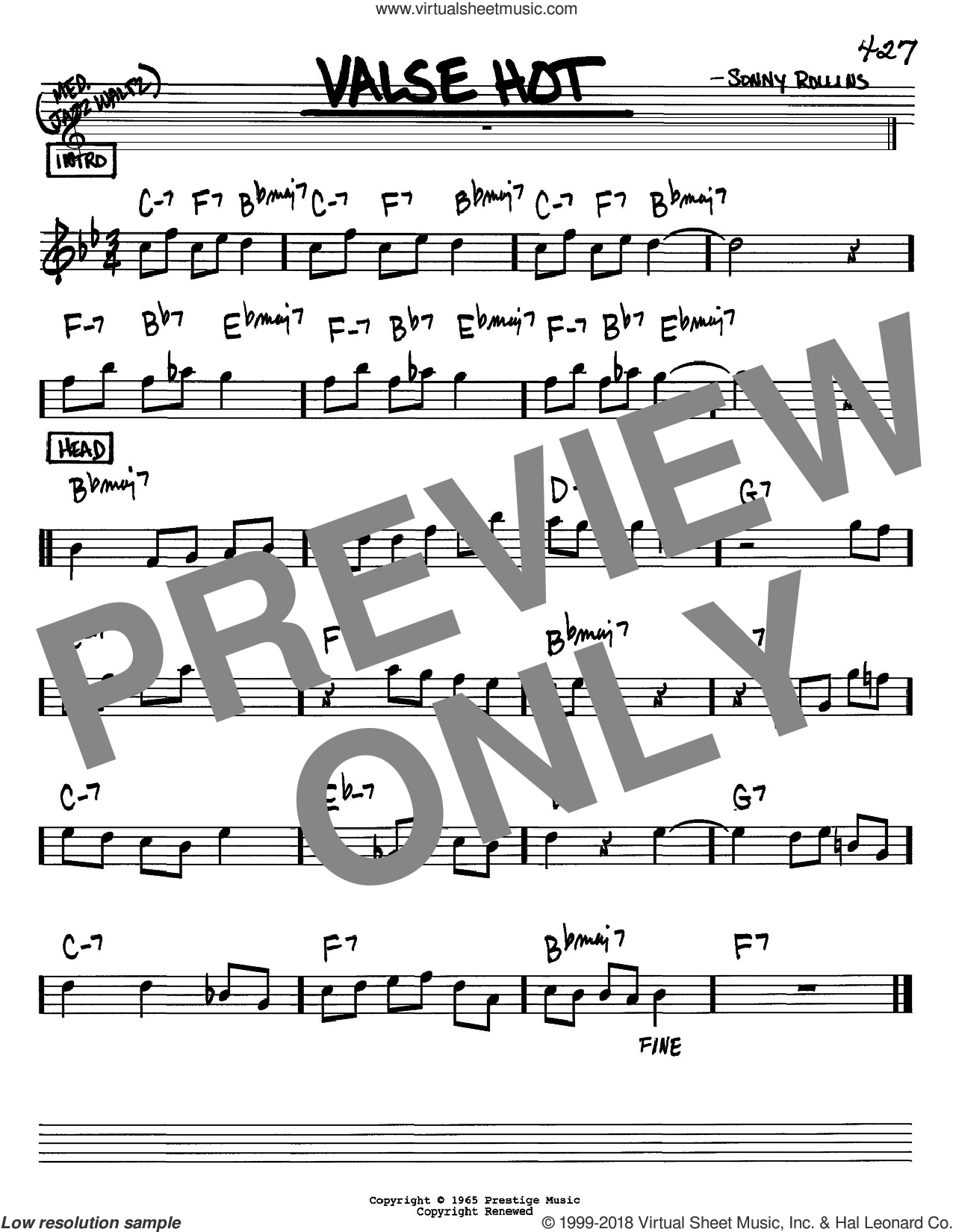Valse Hot sheet music for voice and other instruments (Bb) by Sonny Rollins, intermediate voice. Score Image Preview.