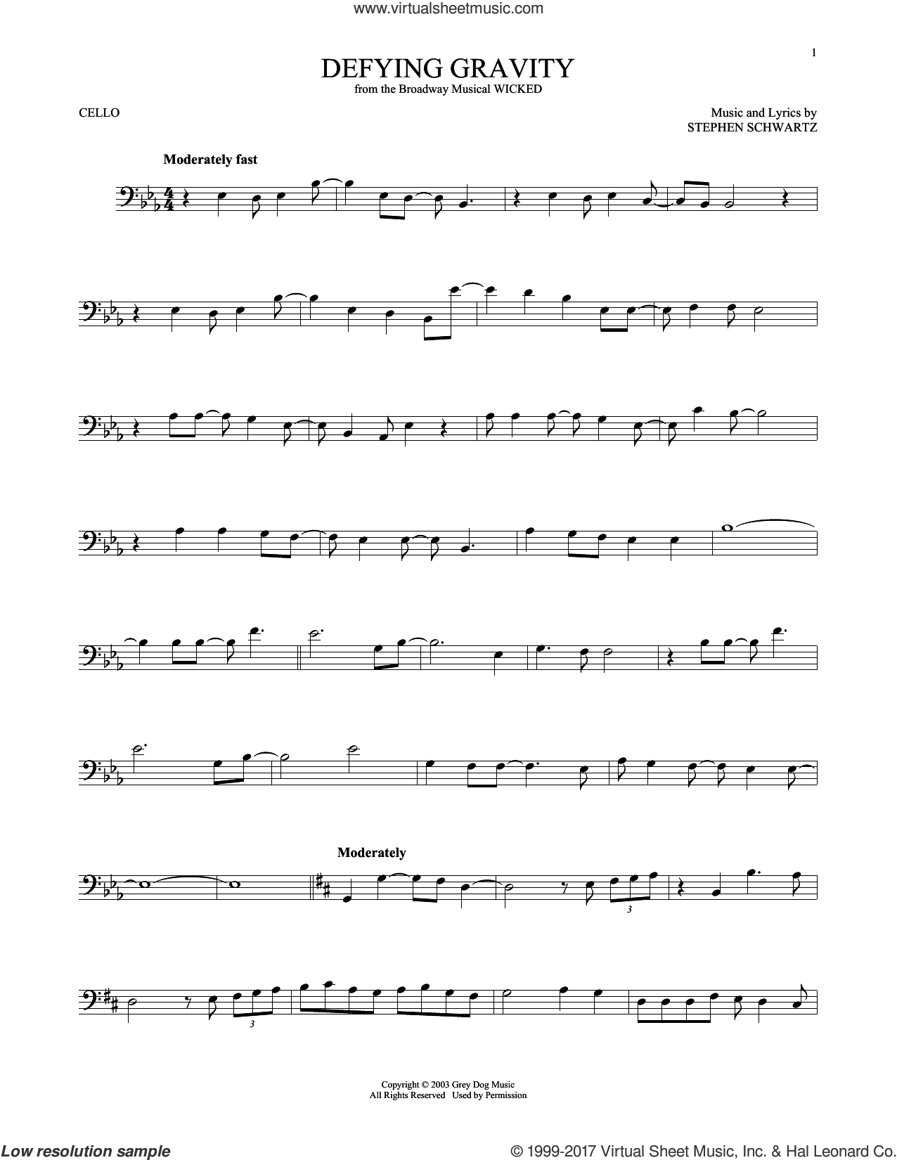 Defying Gravity sheet music for cello solo by Stephen Schwartz, intermediate. Score Image Preview.