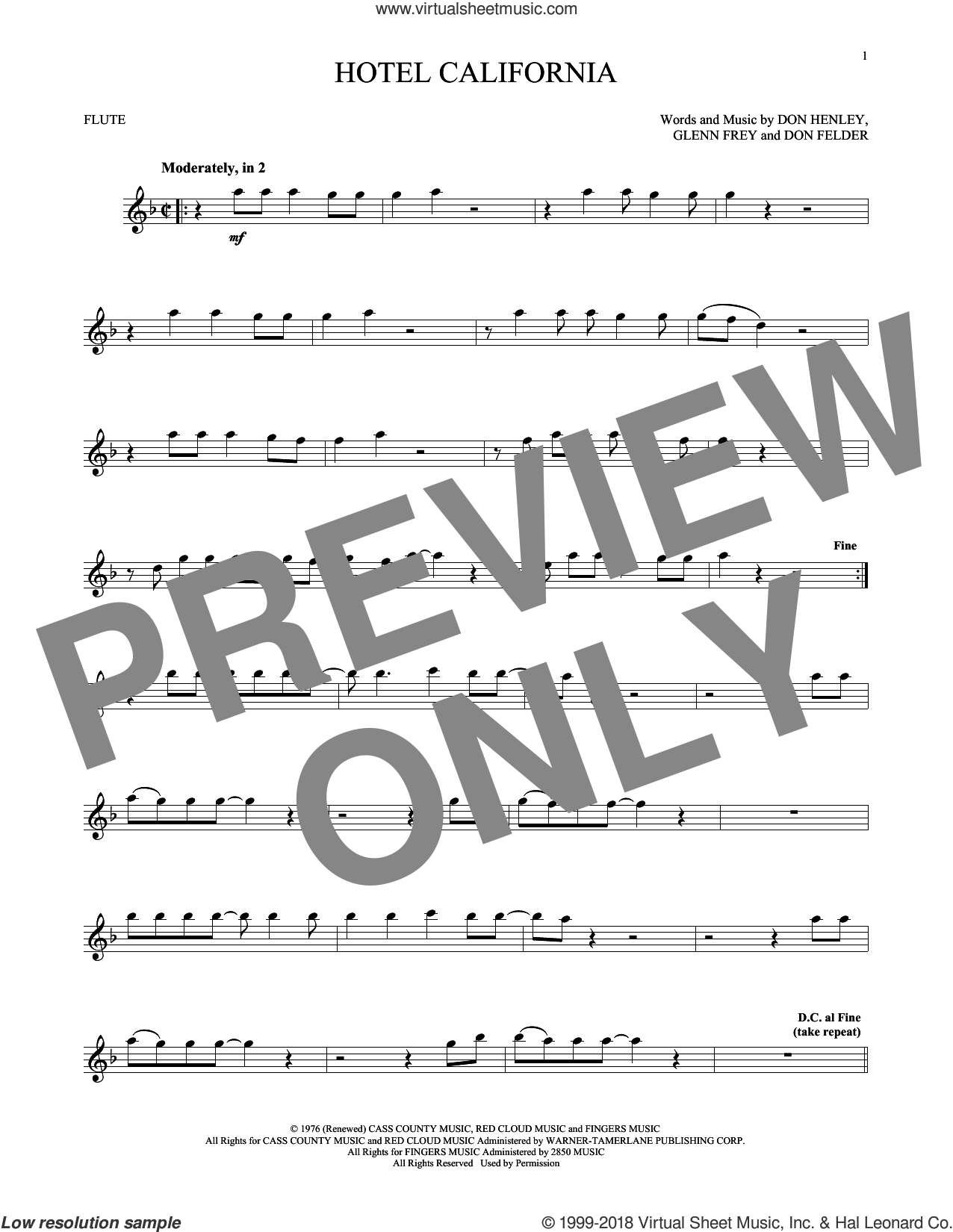 Hotel California sheet music for flute solo by Don Henley, The Eagles, Don Felder and Glenn Frey, intermediate skill level