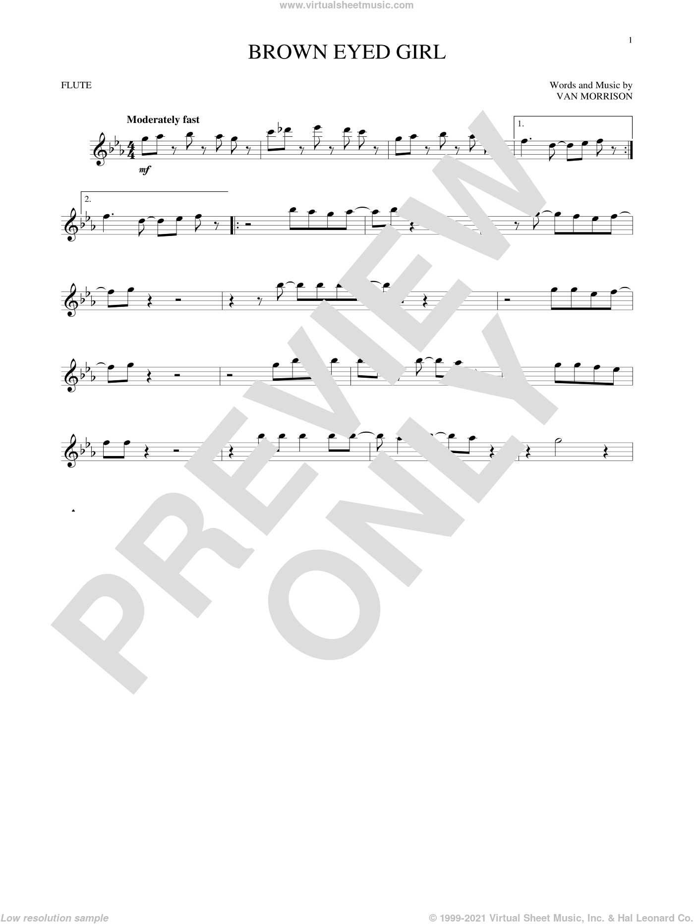 Brown Eyed Girl sheet music for flute solo by Van Morrison, intermediate skill level