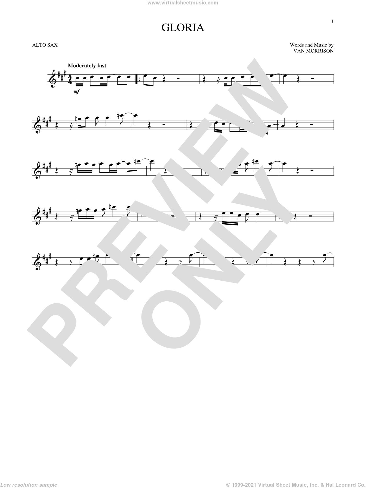 Gloria sheet music for alto saxophone solo by Van Morrison, intermediate skill level