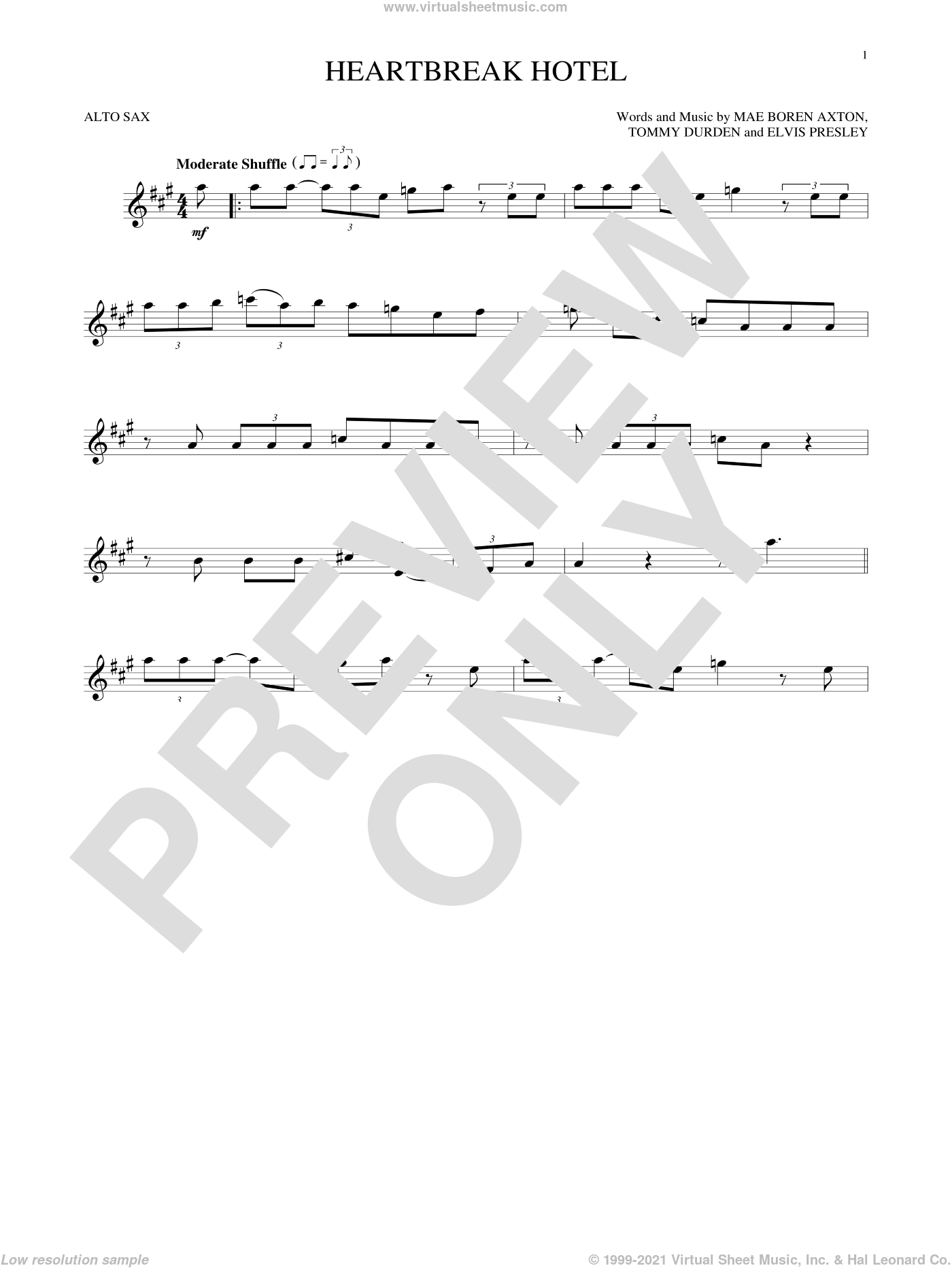 Heartbreak Hotel sheet music for alto saxophone solo by Elvis Presley, Mae Boren Axton and Tommy Durden, intermediate skill level