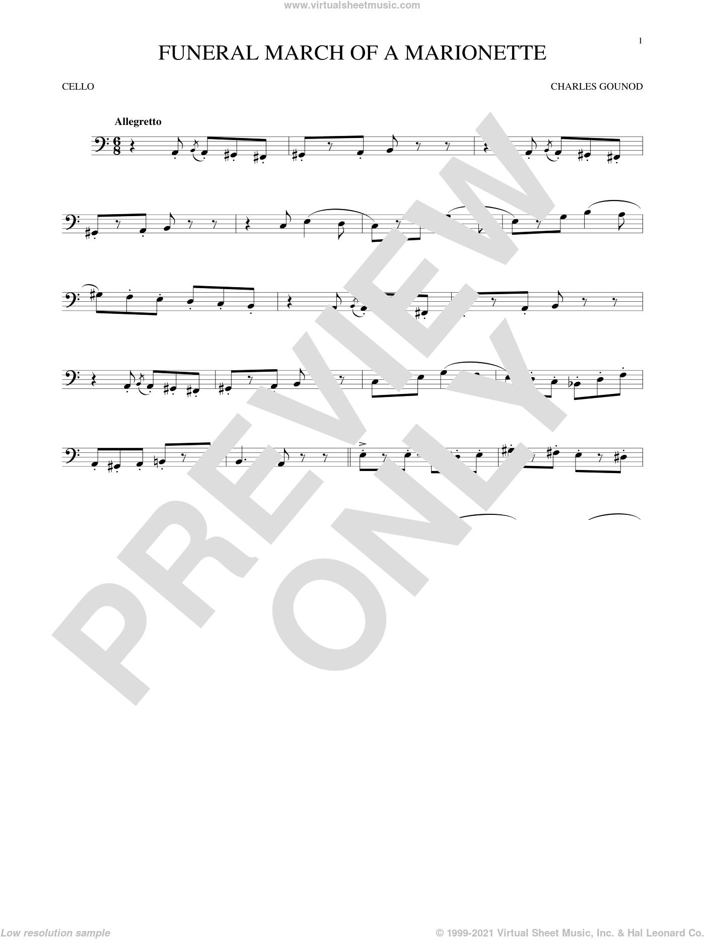 Funeral March Of A Marionette sheet music for cello solo by Charles Gounod, classical score, intermediate skill level