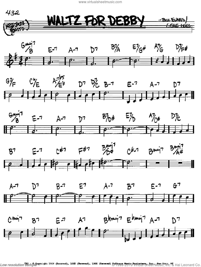 Waltz For Debby sheet music for voice and other instruments (in Bb) by Bill Evans and Eugene John Lees, intermediate skill level