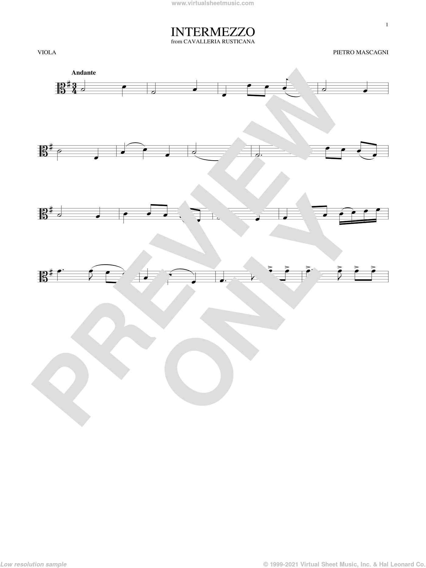 Intermezzo sheet music for viola solo by Pietro Mascagni, classical score, intermediate skill level
