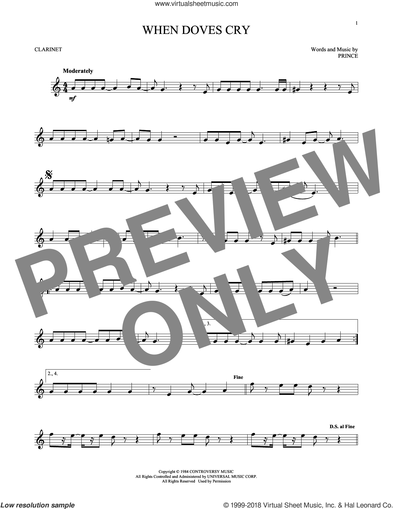 When Doves Cry sheet music for clarinet solo by Prince, intermediate skill level