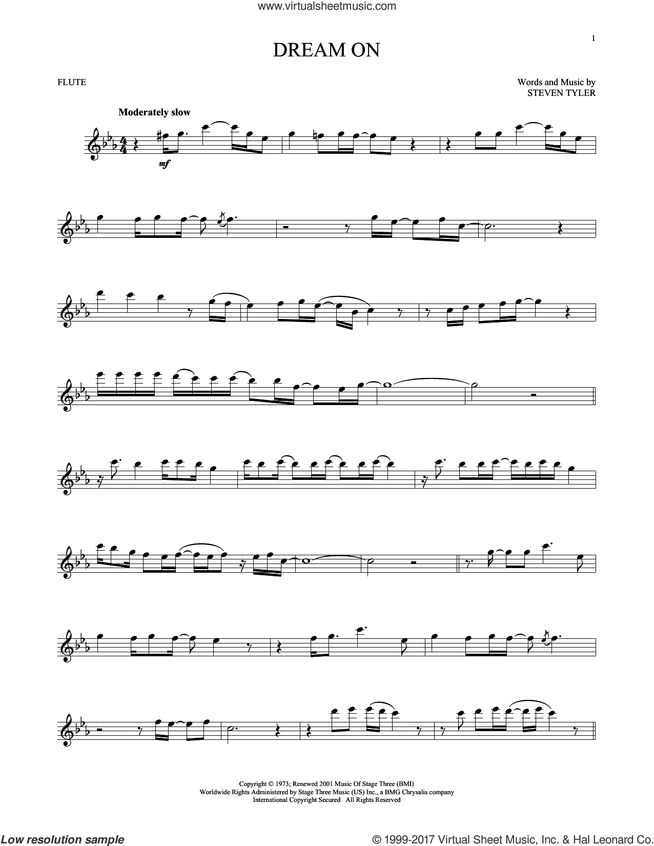 Dream On sheet music for flute solo by Aerosmith and Steven Tyler, intermediate skill level