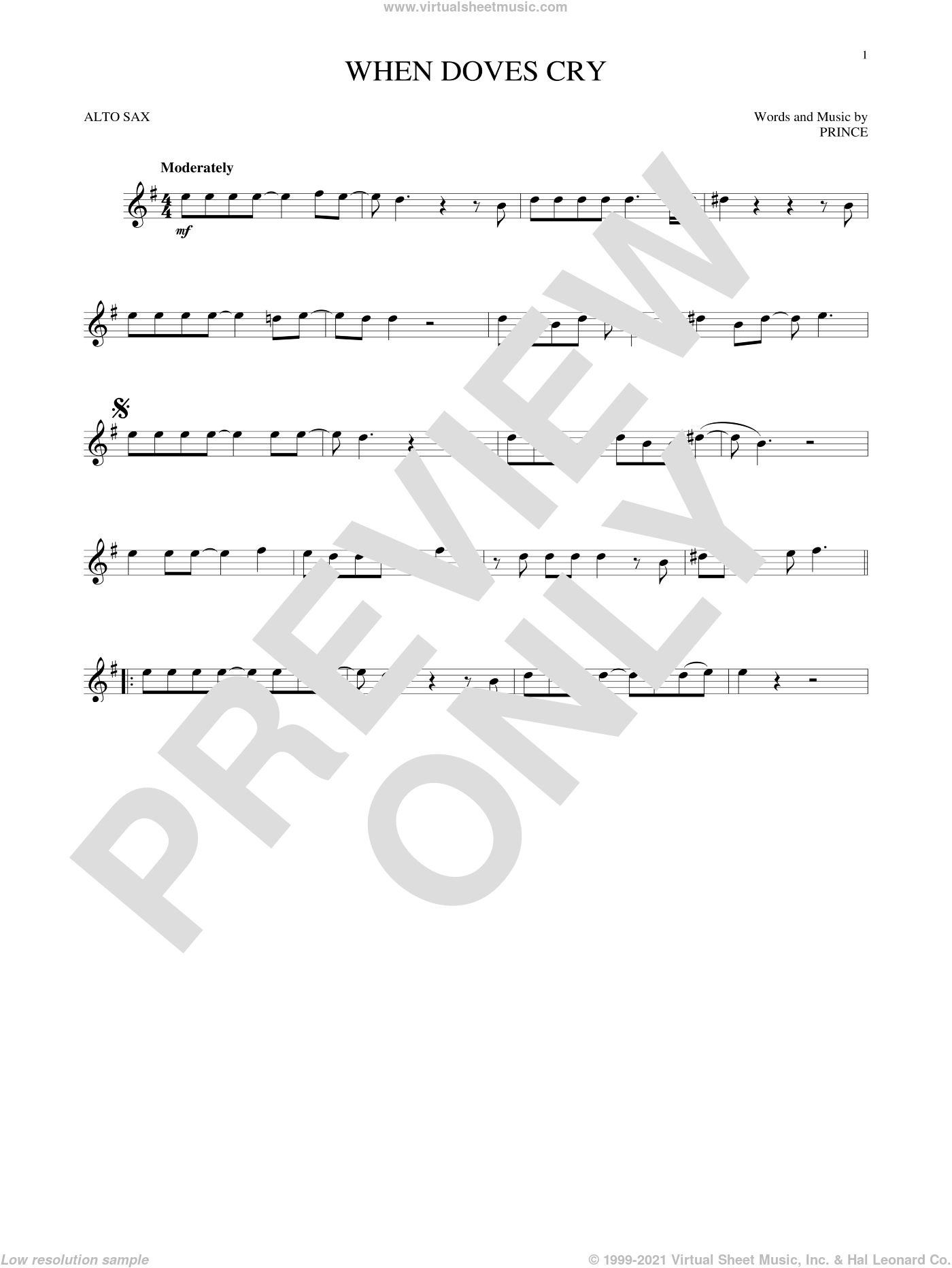 When Doves Cry sheet music for alto saxophone solo by Prince, intermediate skill level