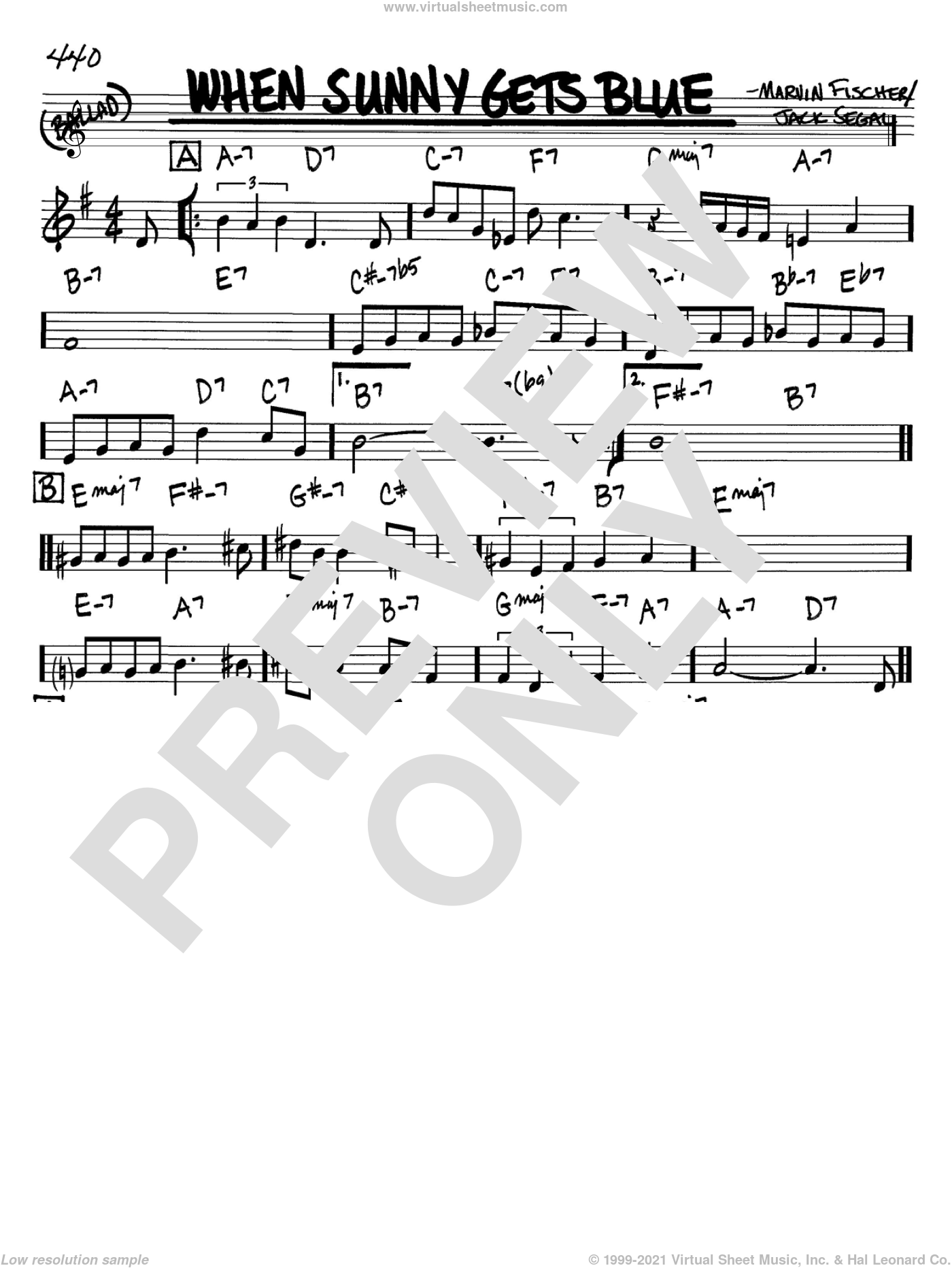 When Sunny Gets Blue sheet music for voice and other instruments (Bb) by Marvin Fisher and Jack Segal. Score Image Preview.