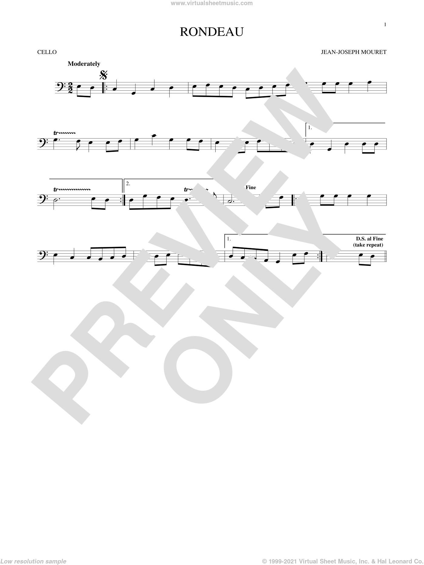 Fanfare Rondeau sheet music for cello solo by Jean-Joseph Mouret, classical score, intermediate skill level