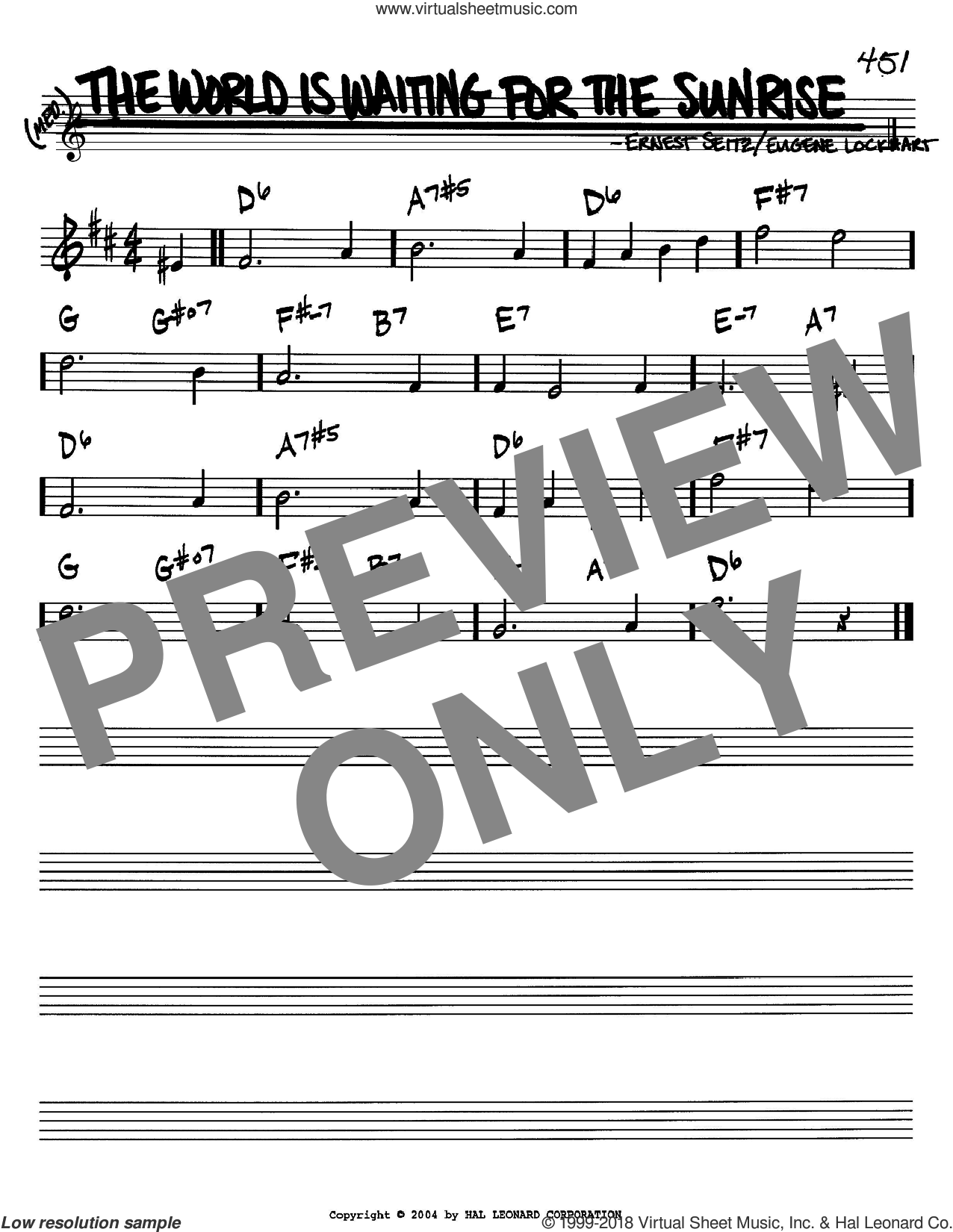 The World Is Waiting For The Sunrise sheet music for voice and other instruments (Bb) by Eugene Lockhart and Ernest Seitz, intermediate voice. Score Image Preview.