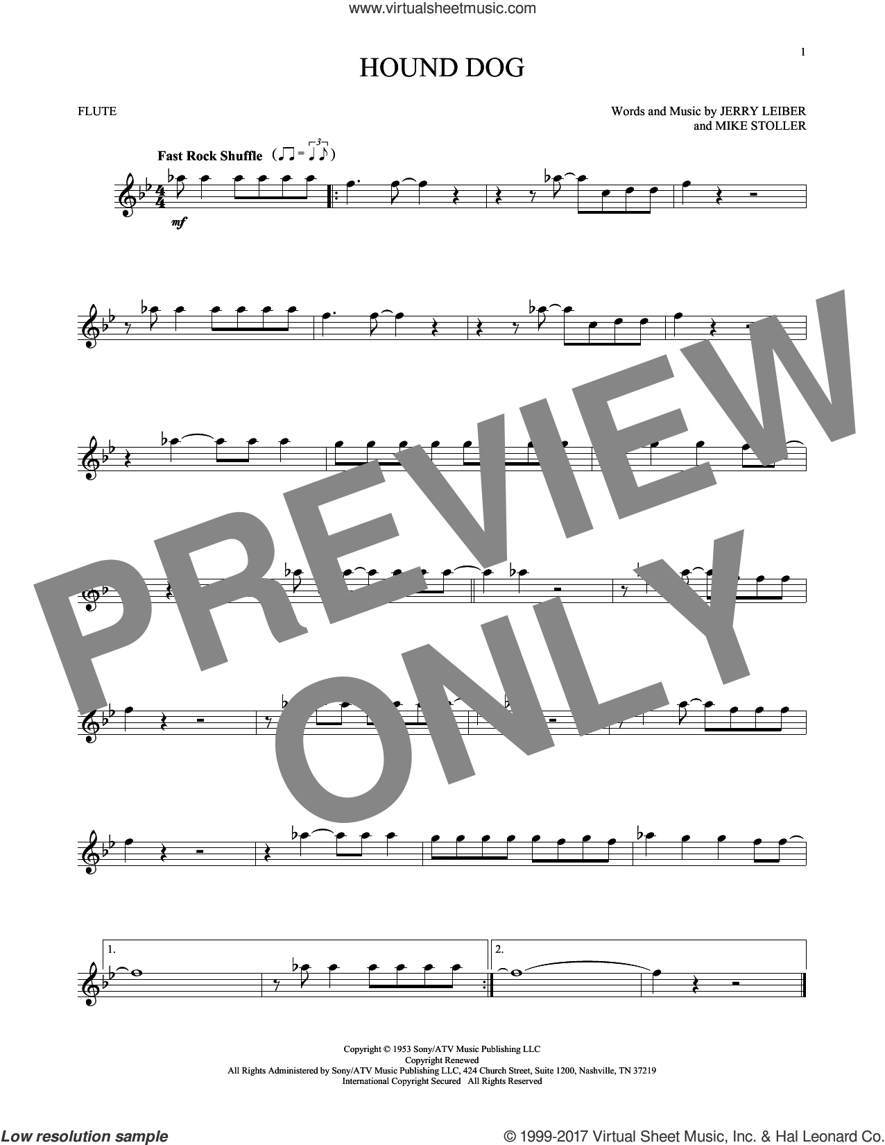 Hound Dog sheet music for flute solo by Elvis Presley, Jerry Leiber and Mike Stoller, intermediate skill level