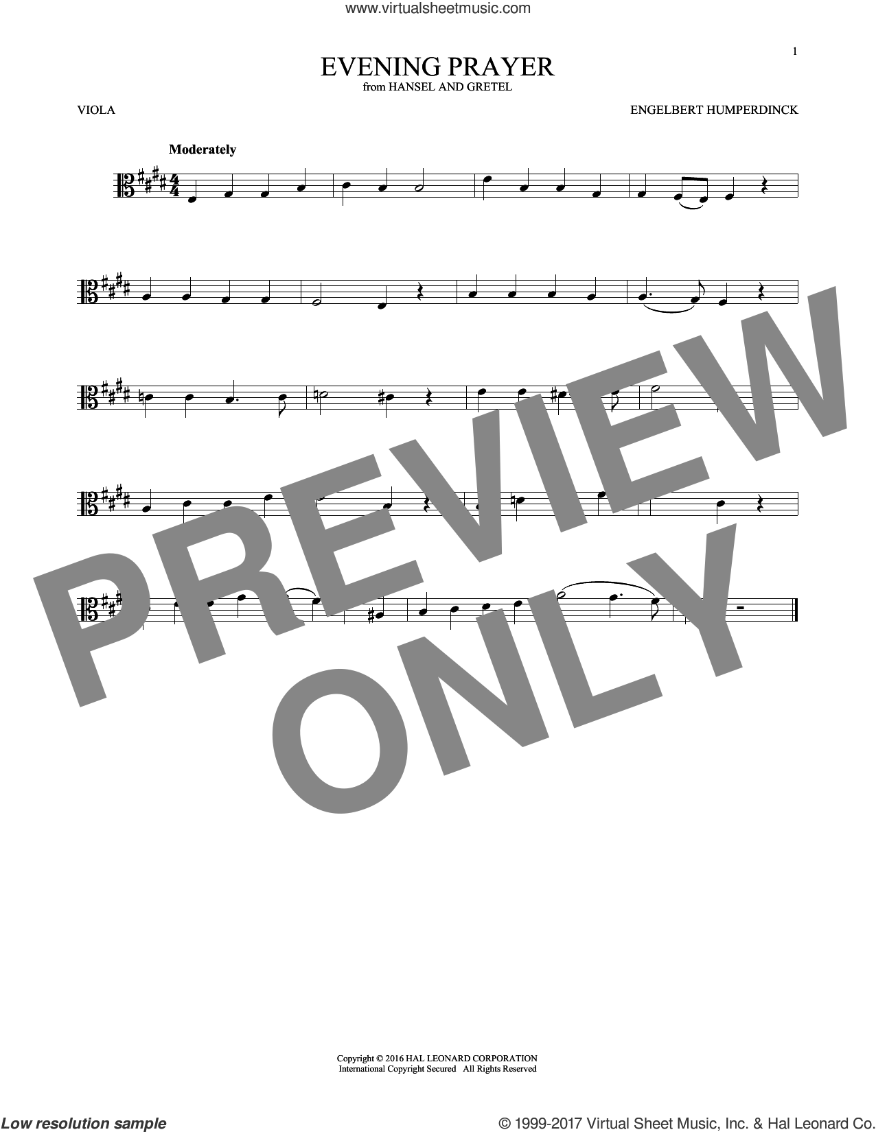 Evening Prayer sheet music for viola solo by Engelbert Humperdinck, intermediate skill level