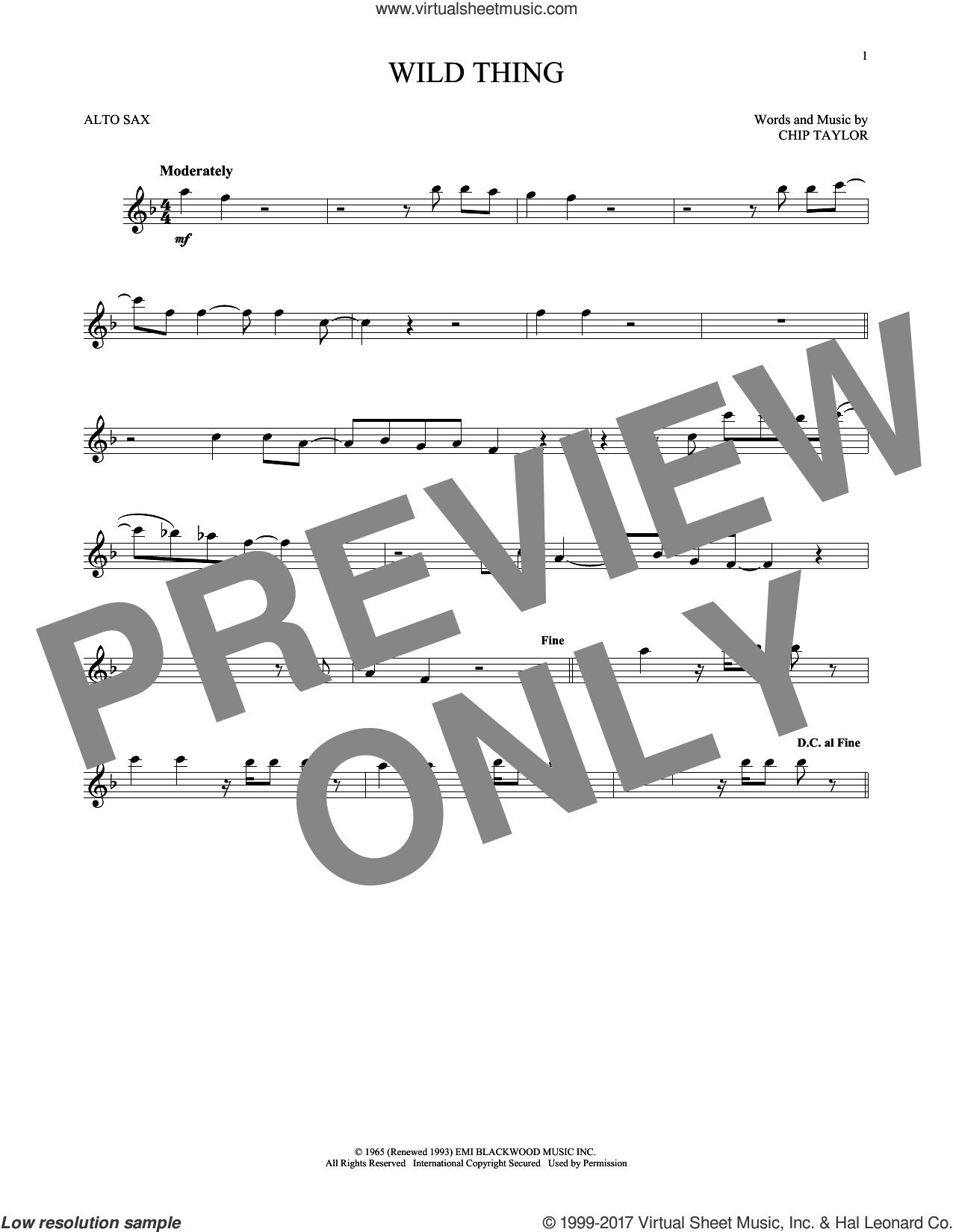 Wild Thing sheet music for alto saxophone solo by The Troggs and Chip Taylor, intermediate skill level