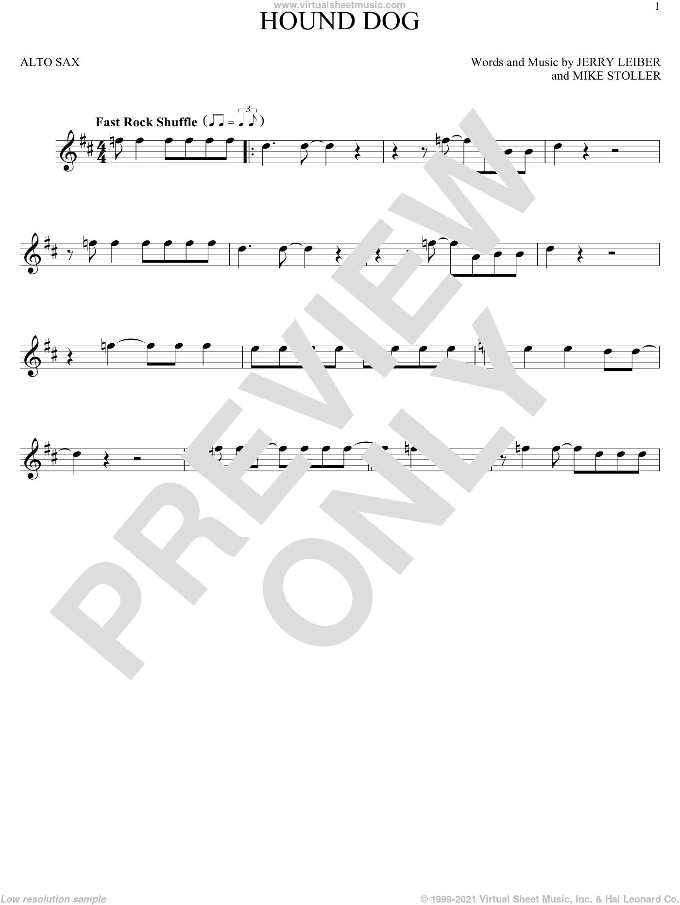 Hound Dog sheet music for alto saxophone solo by Elvis Presley, Jerry Leiber and Mike Stoller, intermediate skill level