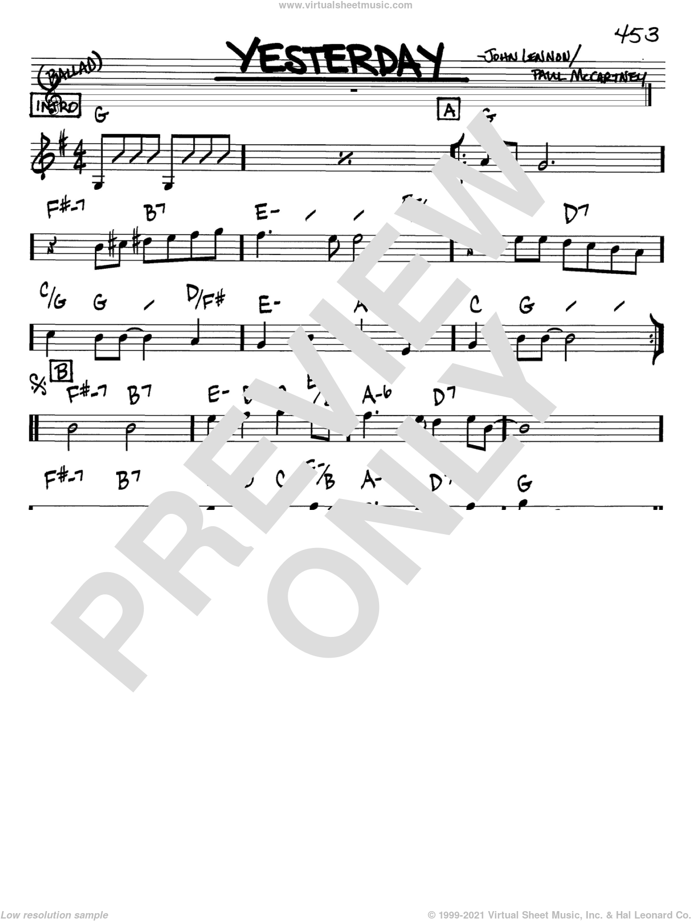 Yesterday sheet music for voice and other instruments (in Bb) by The Beatles, John Lennon and Paul McCartney, intermediate skill level