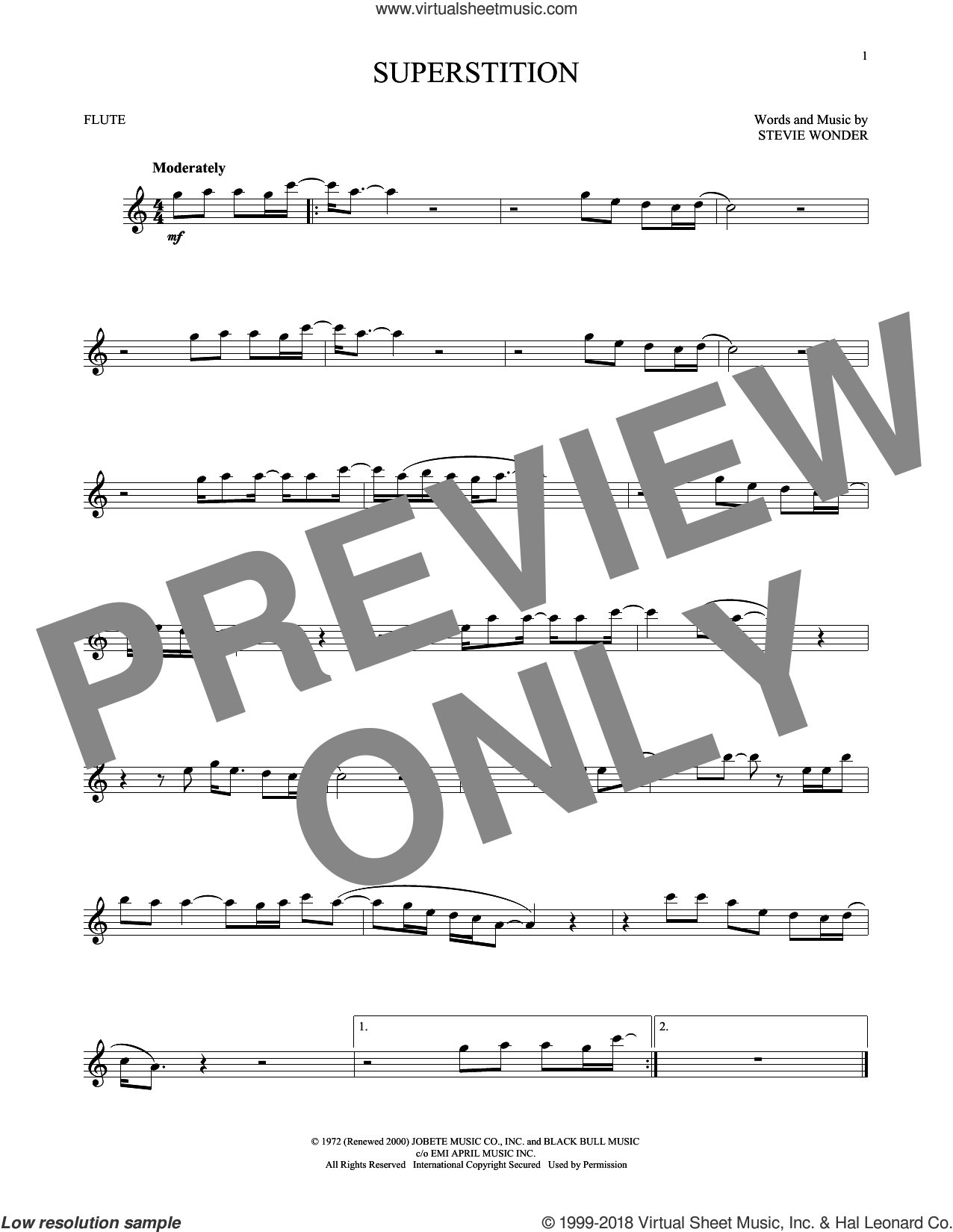 Superstition sheet music for flute solo by Stevie Wonder, intermediate skill level