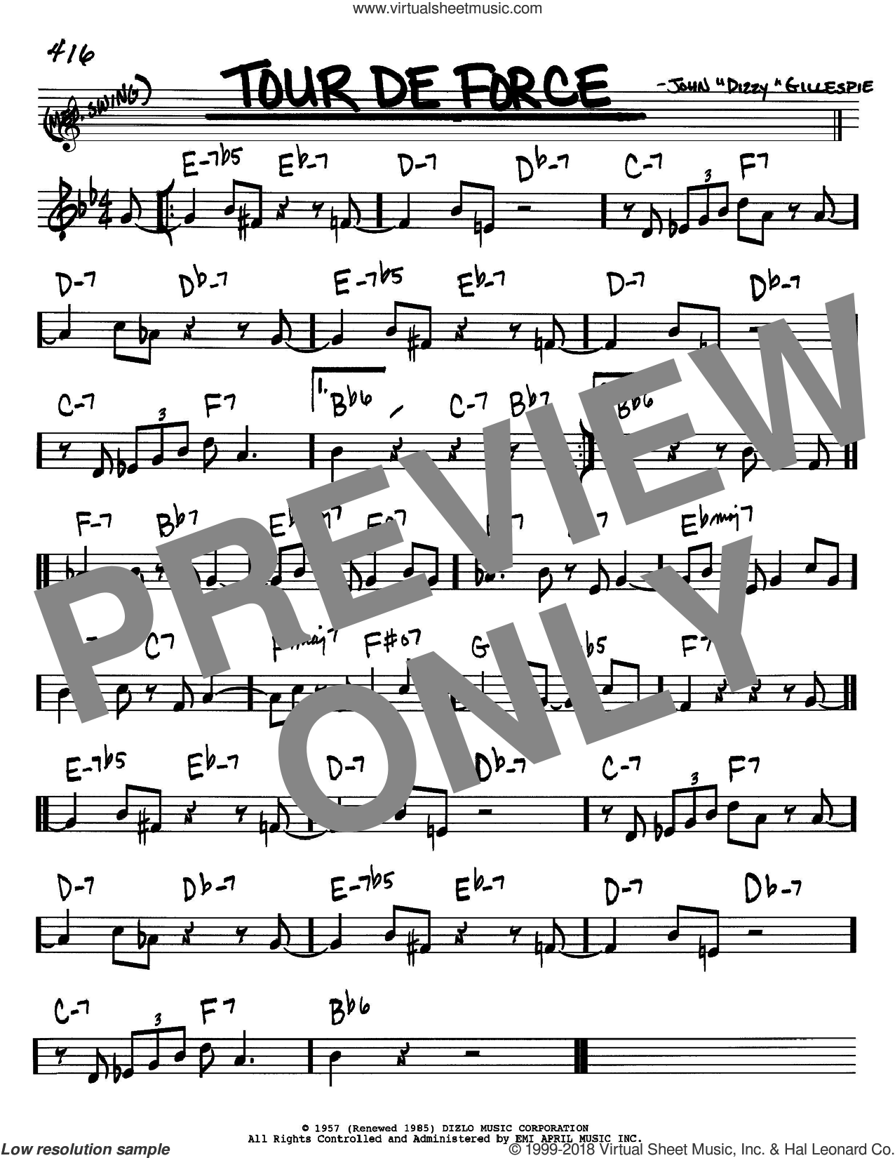 Tour De Force sheet music for voice and other instruments (Bb) by Dizzy Gillespie, intermediate voice. Score Image Preview.