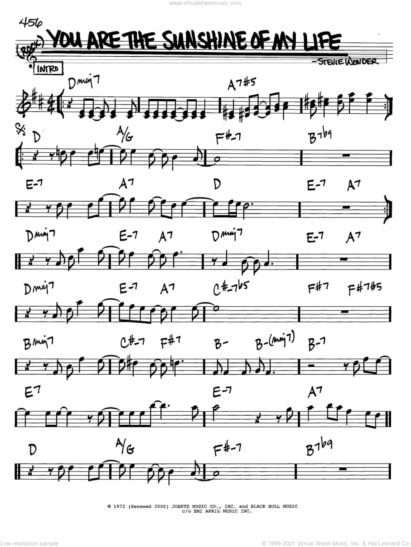 You Are The Sunshine Of My Life sheet music for voice and other instruments (in Bb) by Stevie Wonder, intermediate skill level
