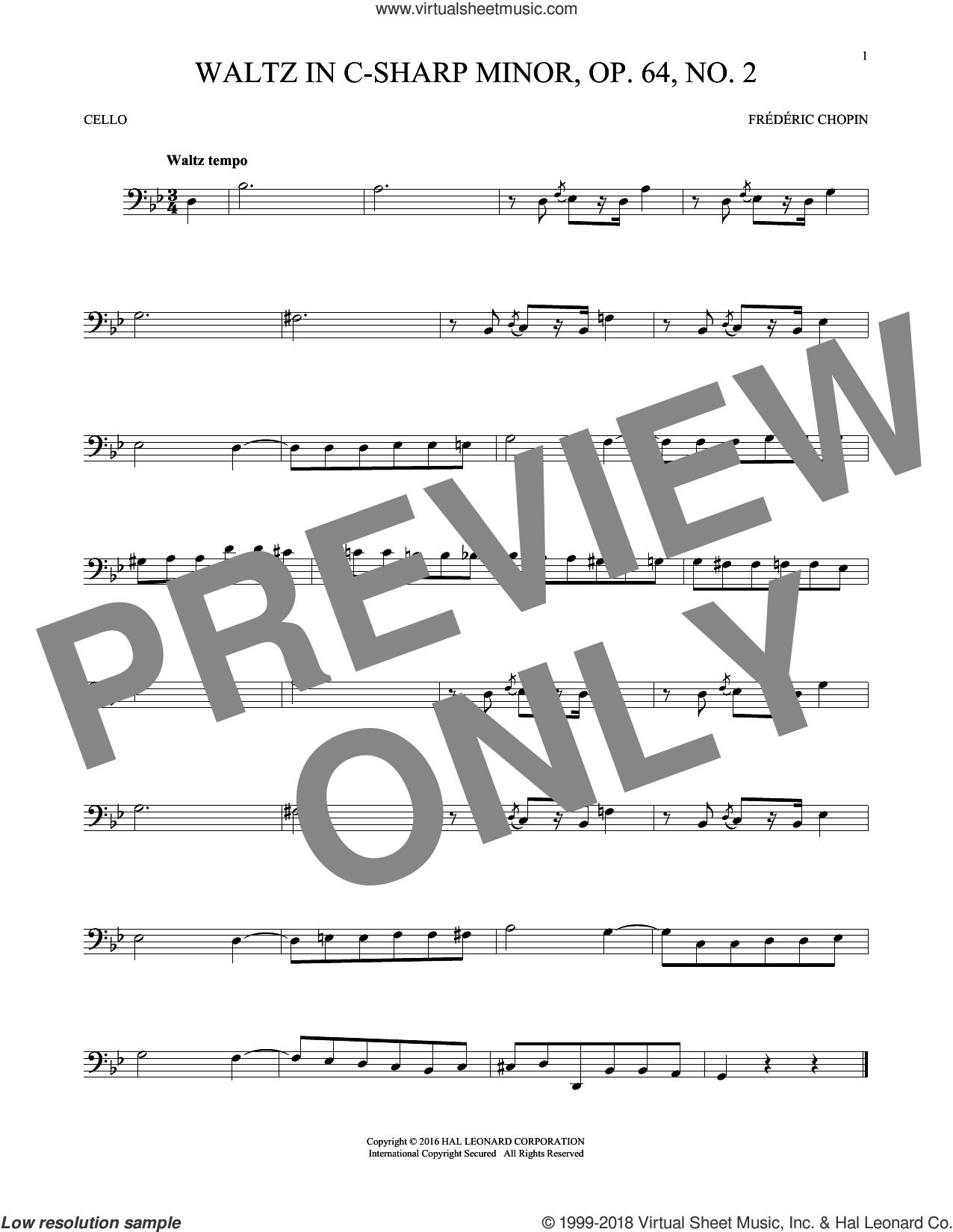 Waltz In C-Sharp Minor, Op. 64, No. 2 sheet music for cello solo by Frederic Chopin, classical score, intermediate skill level
