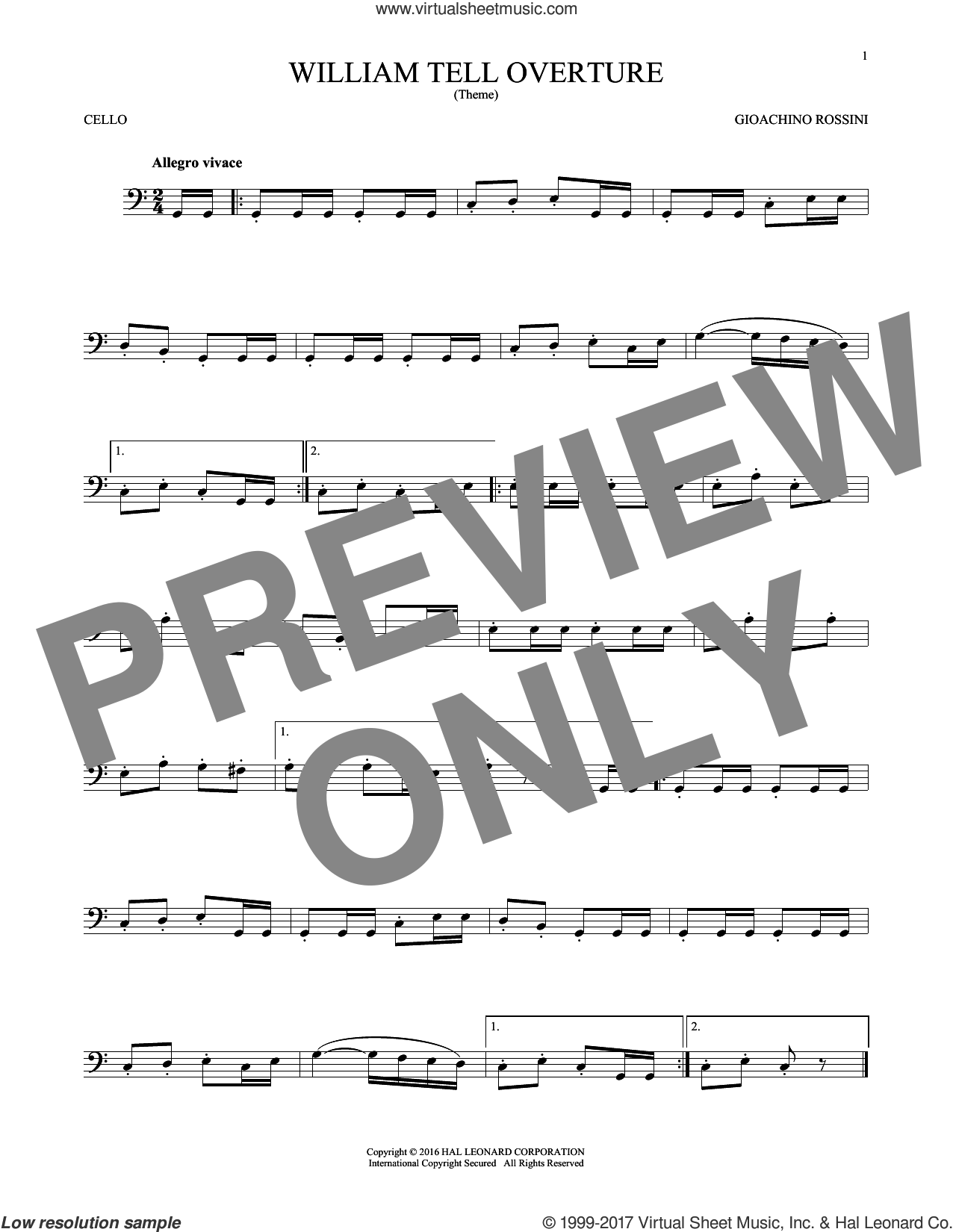 William Tell Overture sheet music for cello solo by Rossini, Gioacchino, classical score, intermediate. Score Image Preview.