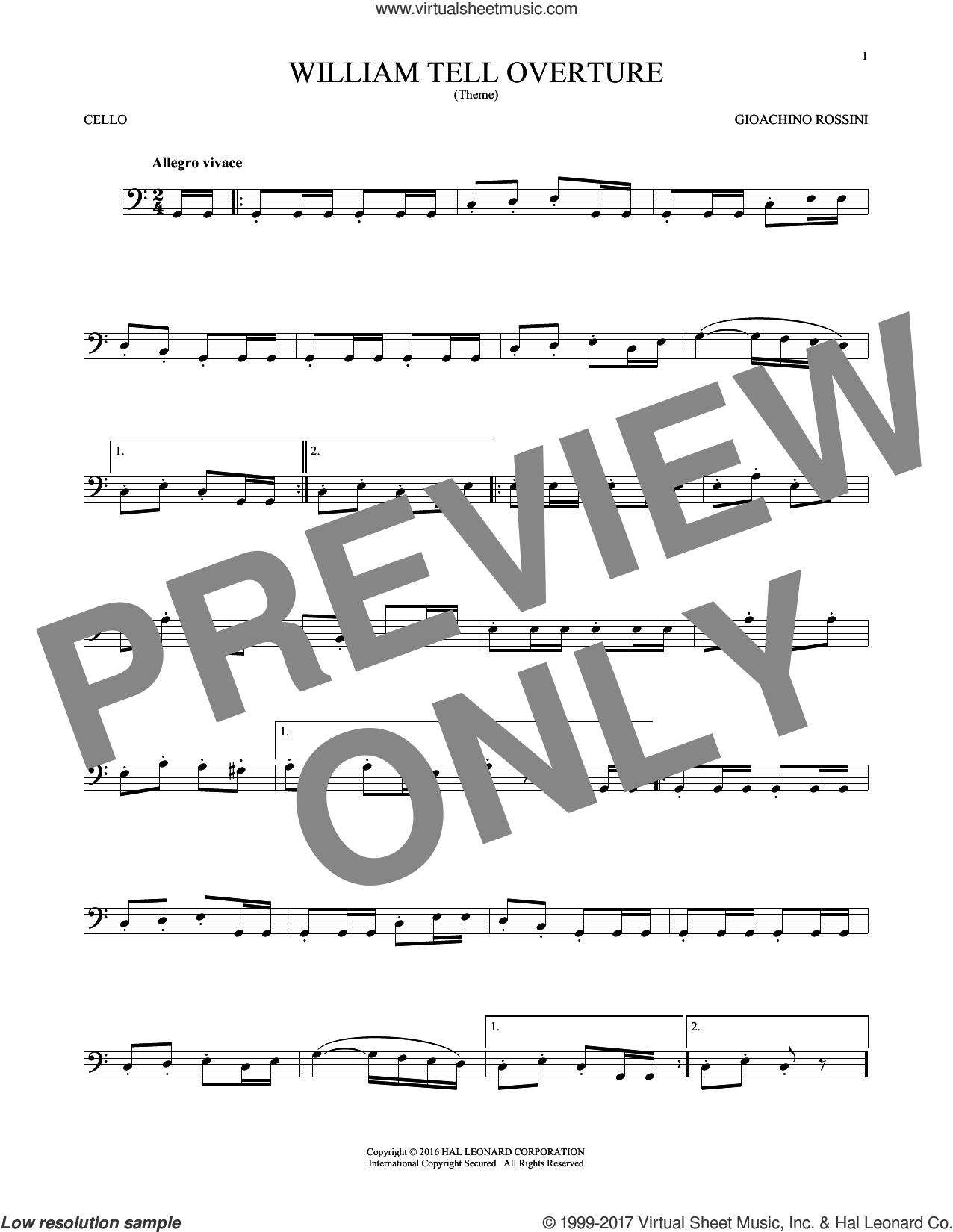 William Tell Overture sheet music for cello solo by Rossini, Gioacchino, classical score, intermediate skill level