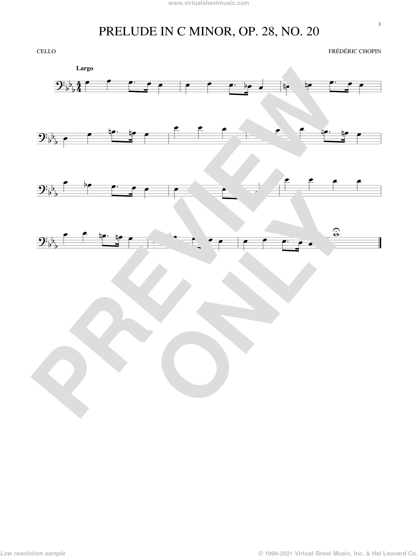 Prelude, Op. 28, No. 20 sheet music for cello solo by Frederic Chopin, classical score, intermediate skill level