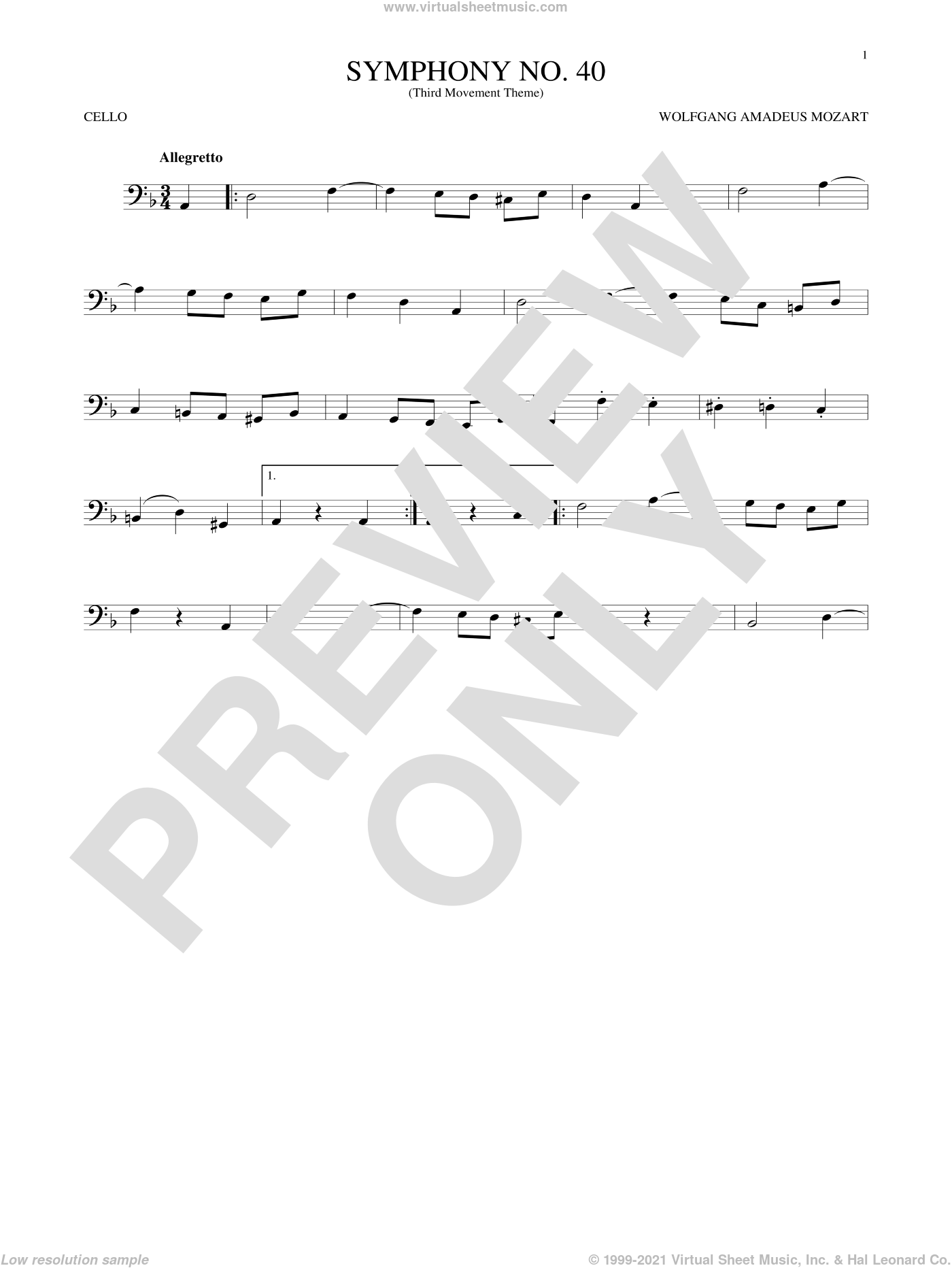 Symphony No. 40 In G Minor, Third Movement ('Minuet') sheet music for cello solo by Wolfgang Amadeus Mozart, classical score, intermediate skill level