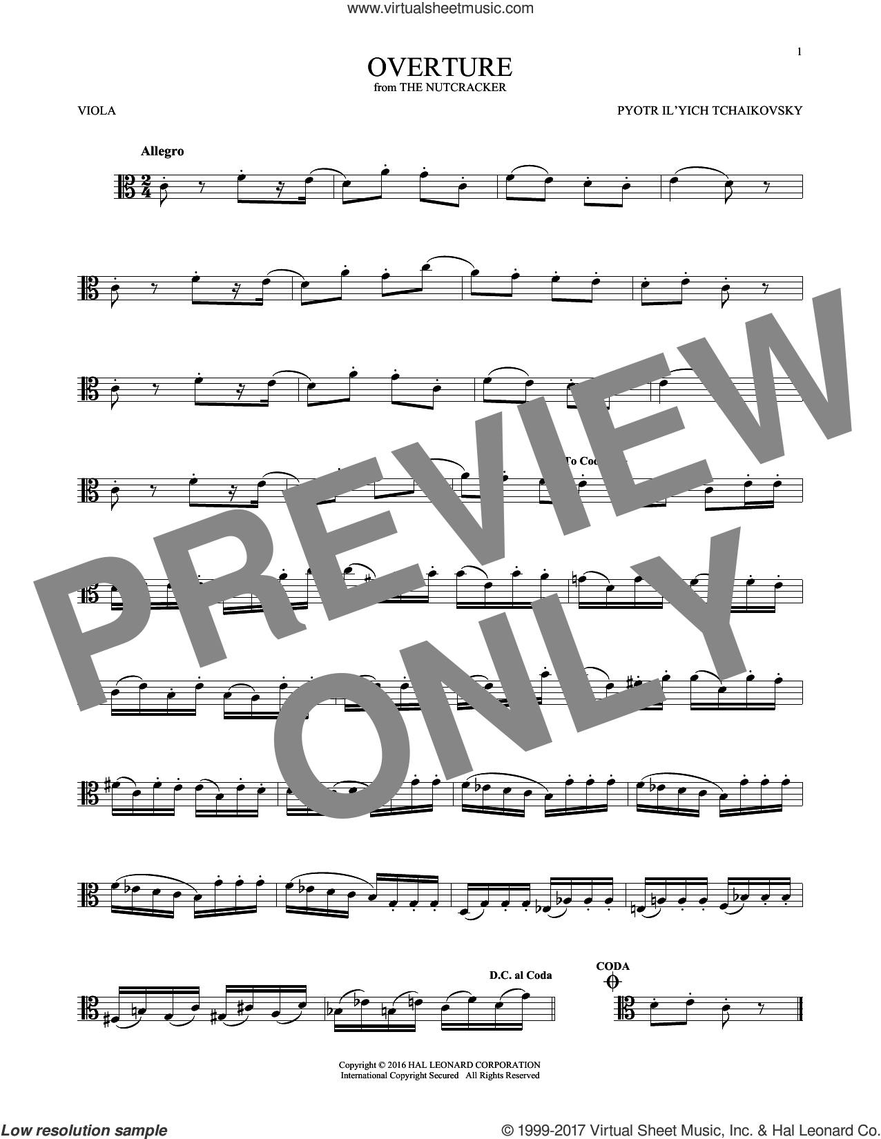 Overture sheet music for viola solo by Pyotr Ilyich Tchaikovsky, classical score, intermediate skill level