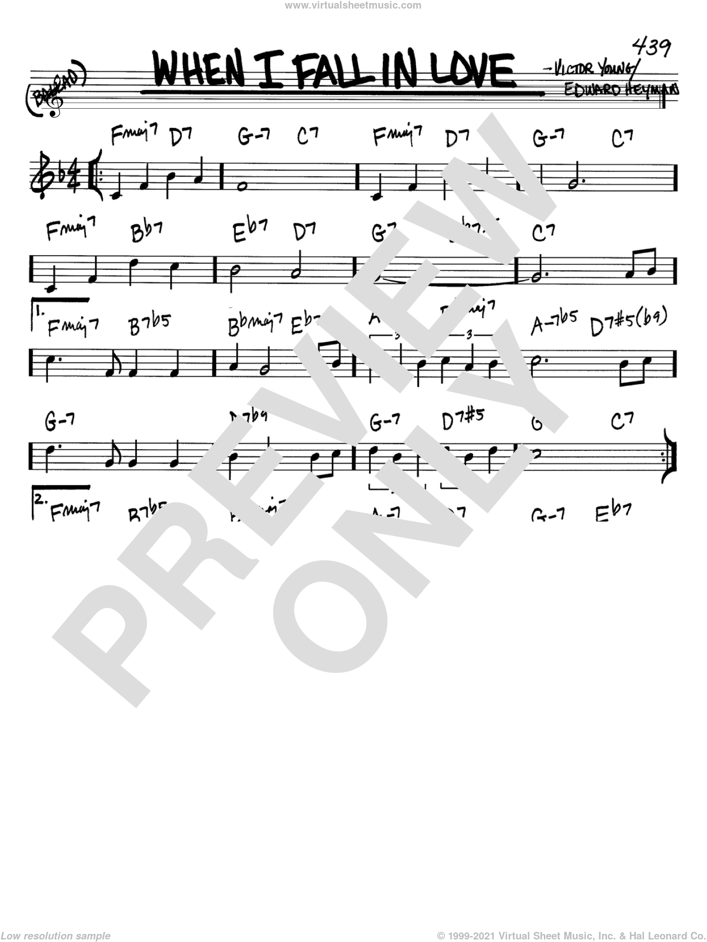 When I Fall In Love sheet music for voice and other instruments (Bb) by Victor Young and Edward Heyman. Score Image Preview.