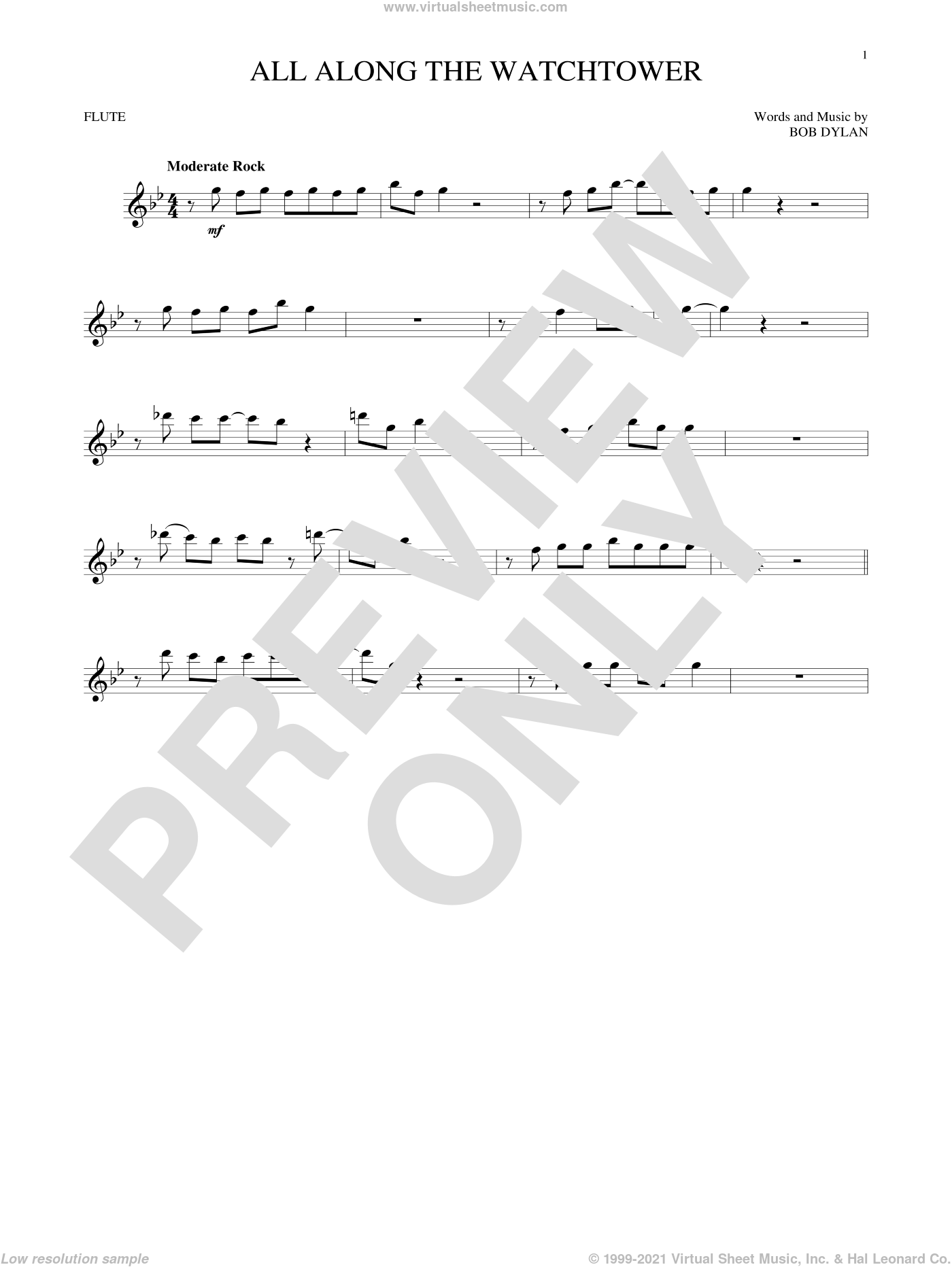 All Along The Watchtower sheet music for flute solo by Bob Dylan, intermediate skill level