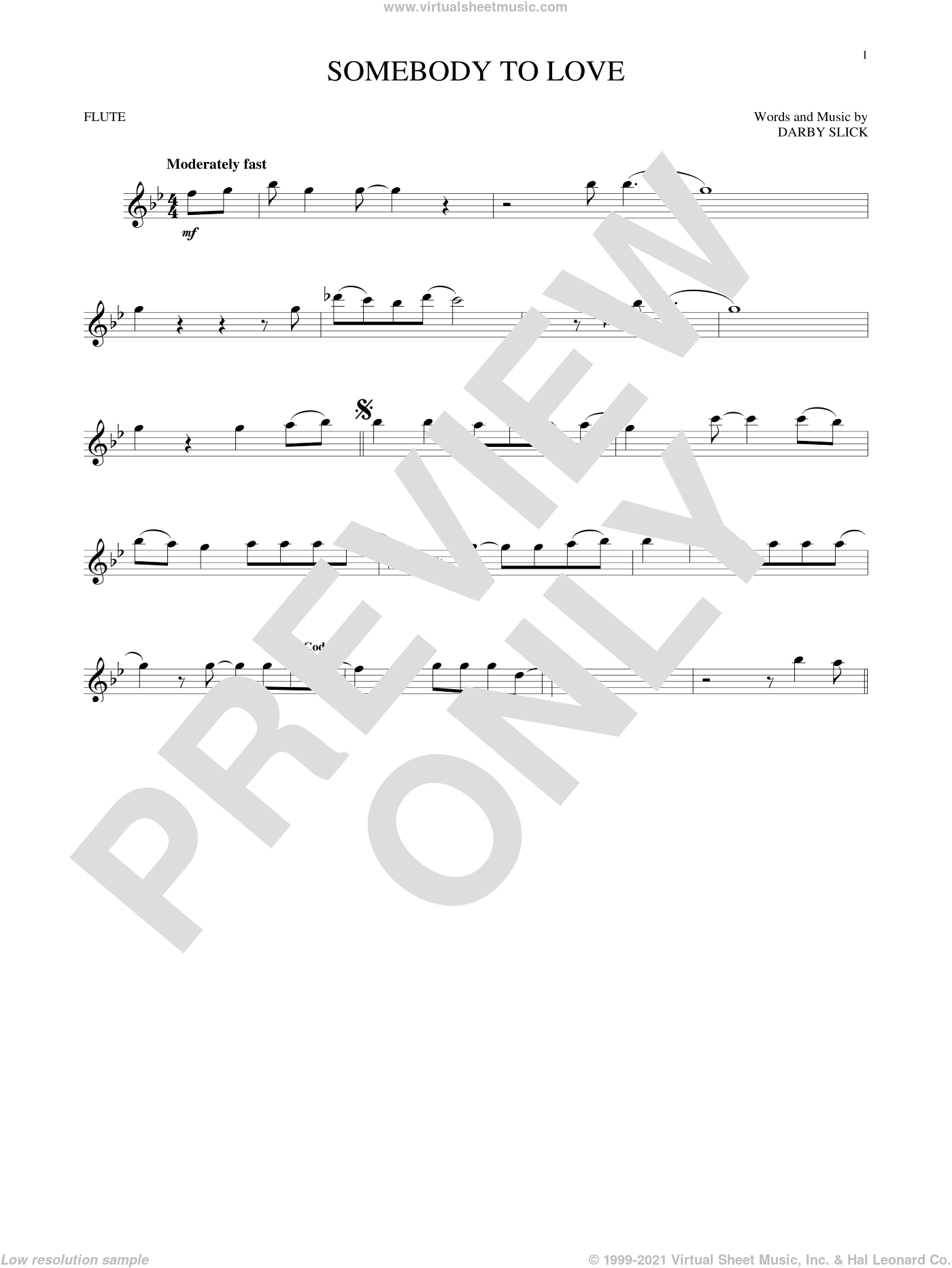 Somebody To Love sheet music for flute solo by Jefferson Airplane and Darby Slick, intermediate skill level