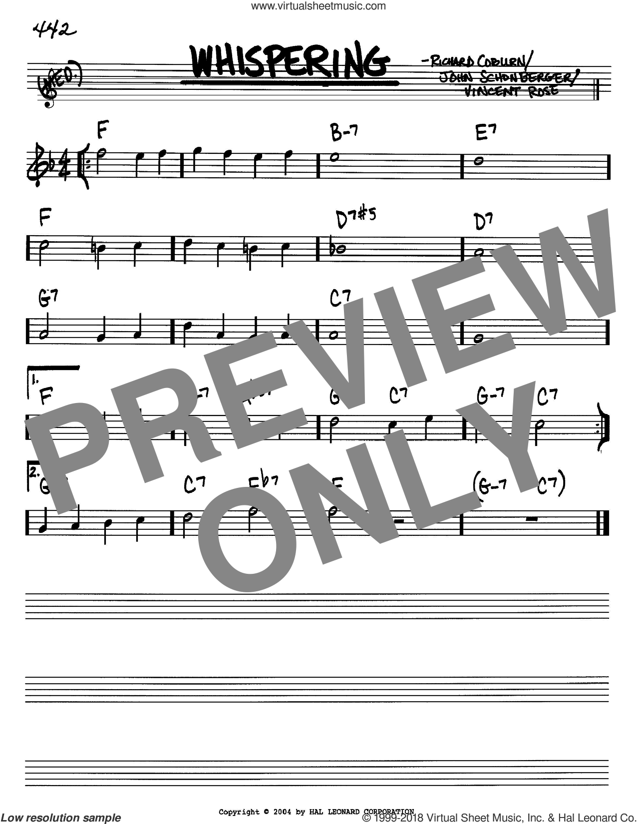 Whispering sheet music for voice and other instruments (Bb) by Richard Coburn, John Schonberger and Vincent Rose. Score Image Preview.