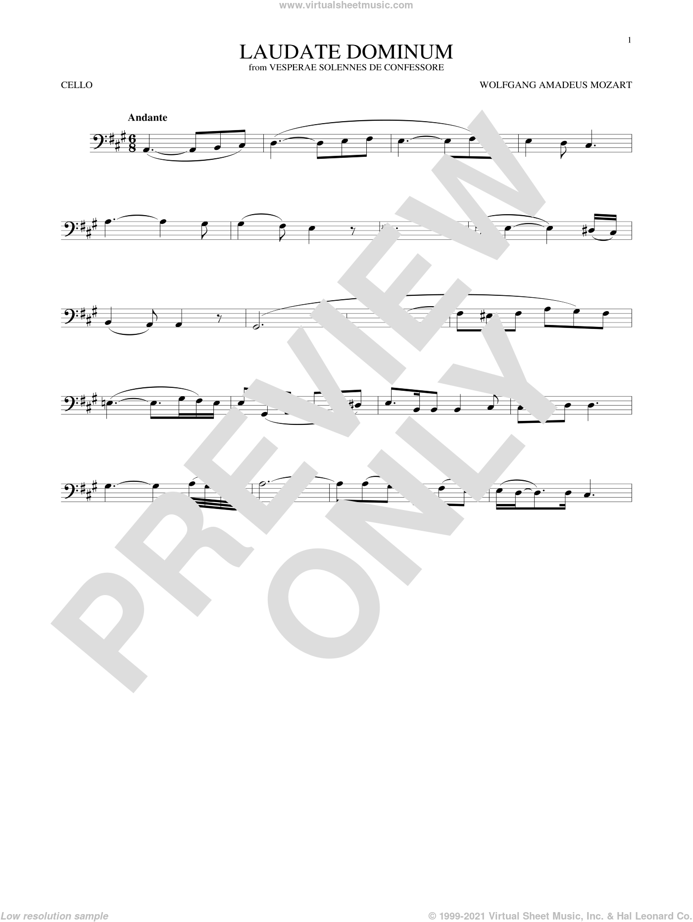 Laudate Dominum sheet music for cello solo by Wolfgang Amadeus Mozart, classical score, intermediate skill level
