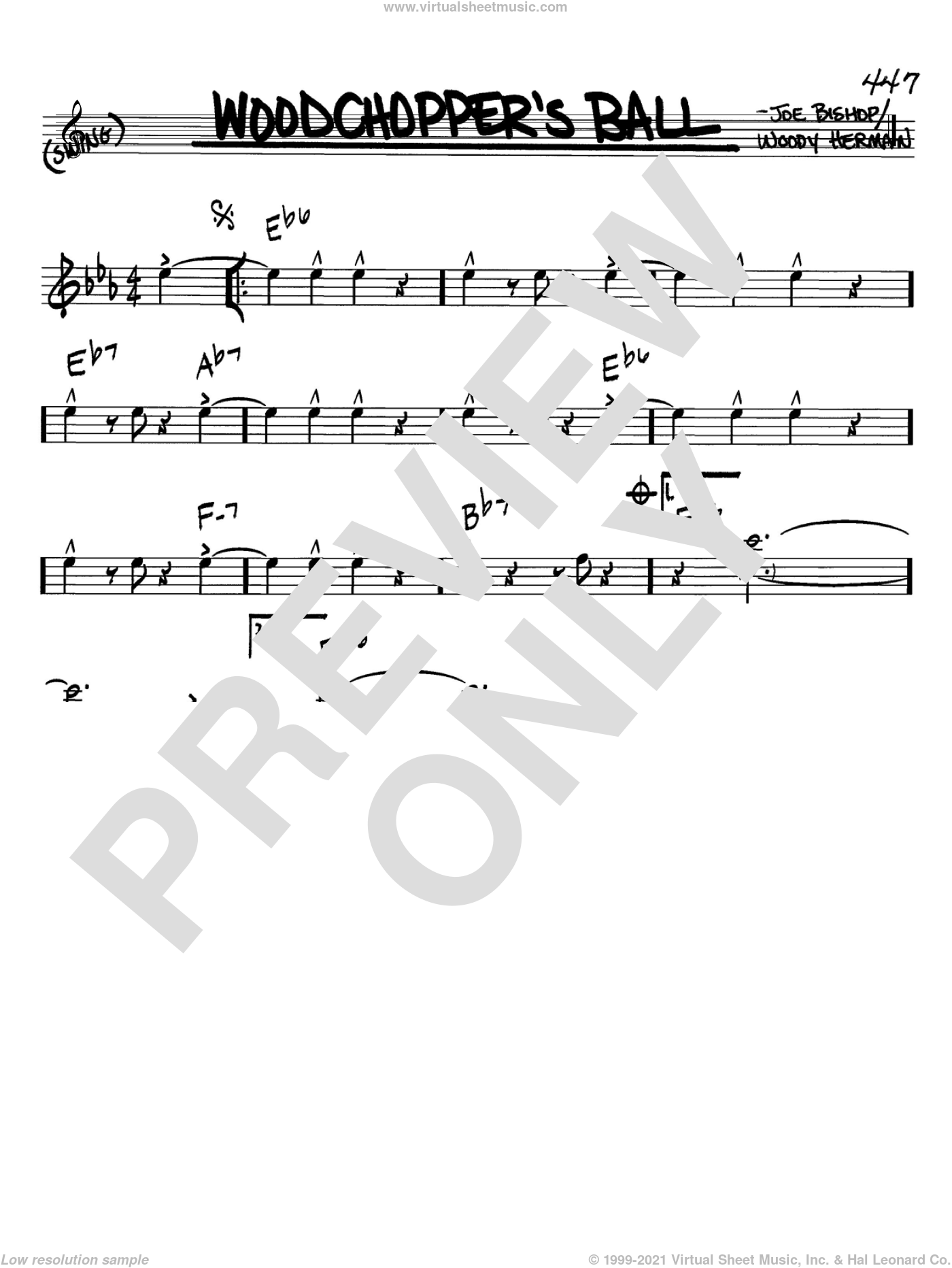 Woodchopper's Ball sheet music for voice and other instruments (Bb) by Woody Herman, intermediate voice. Score Image Preview.