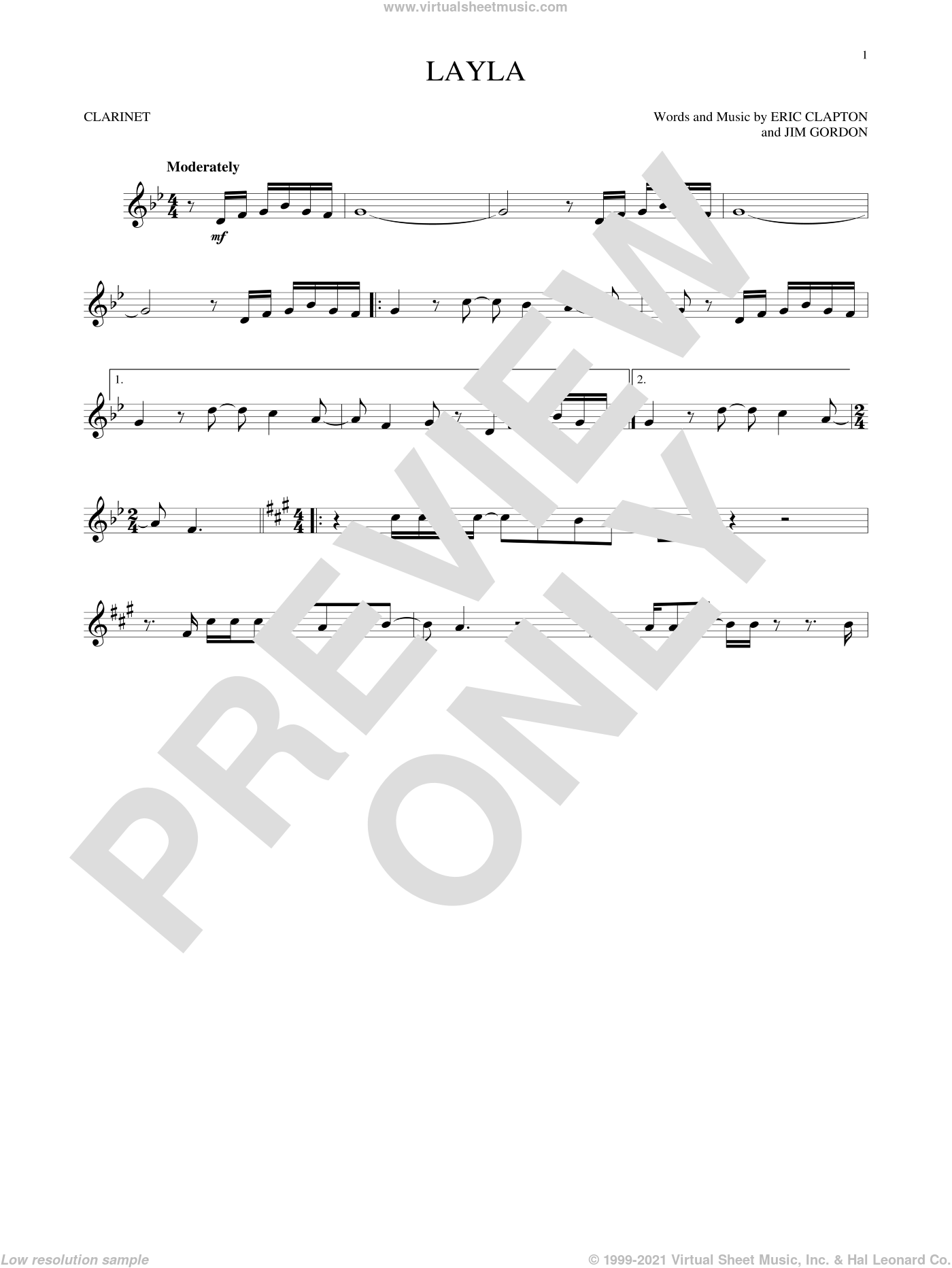 Layla sheet music for clarinet solo by Eric Clapton, Derek And The Dominos and Jim Gordon, intermediate skill level