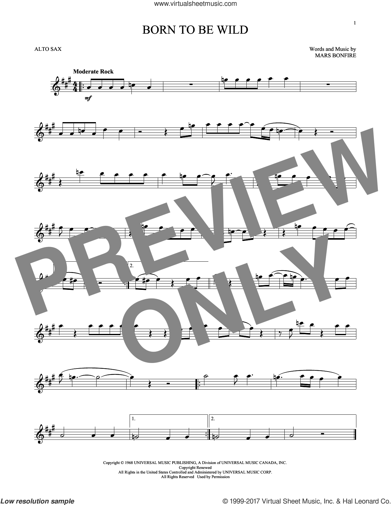 Born To Be Wild sheet music for alto saxophone solo by Steppenwolf and Mars Bonfire, intermediate skill level